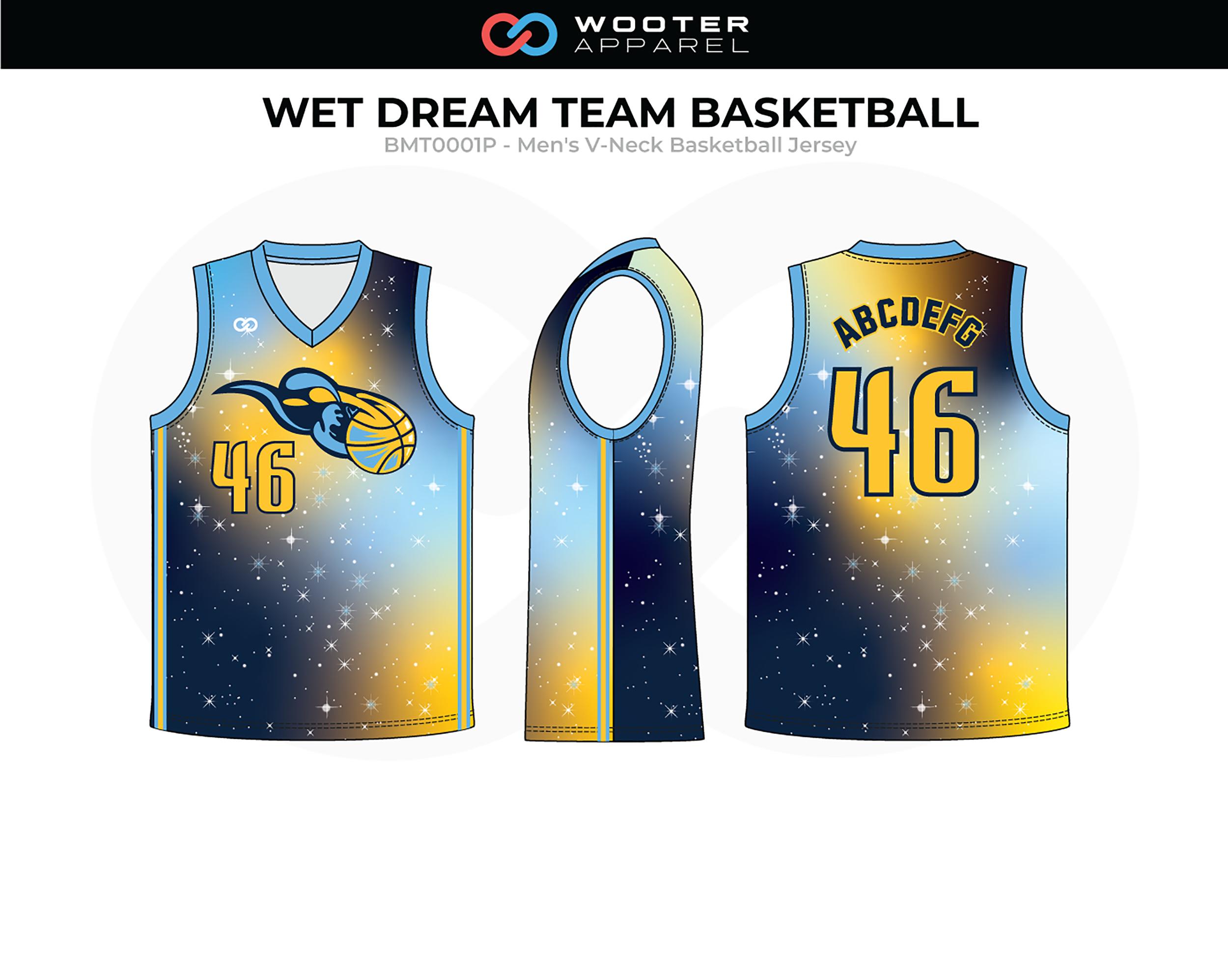 WET DREAM TEAM Blue Yellow Black Men's V-Neck Basketball Jersey