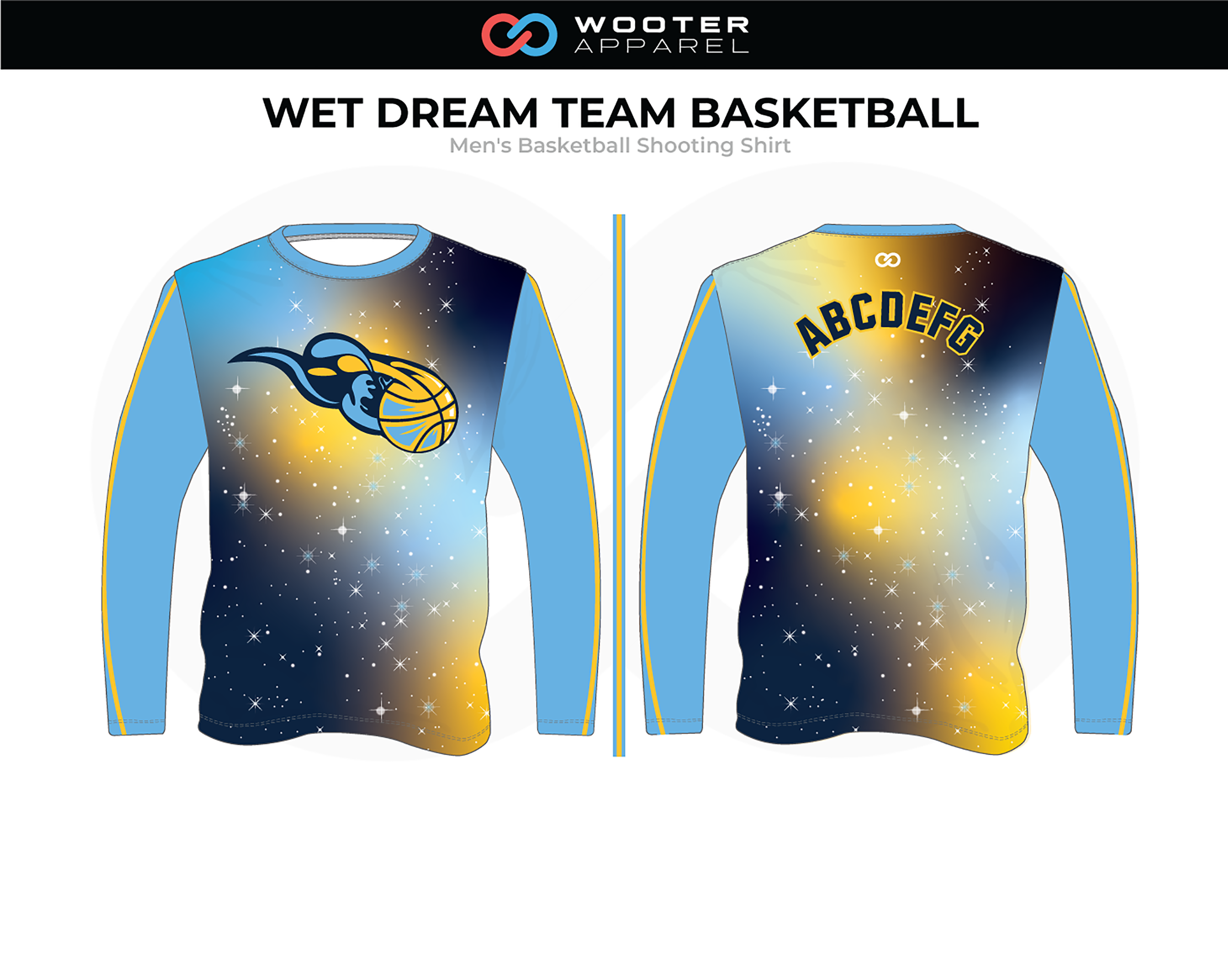 WET DREAM TEAM Blue Yellow Black Men's Basketball Shooting Shirt