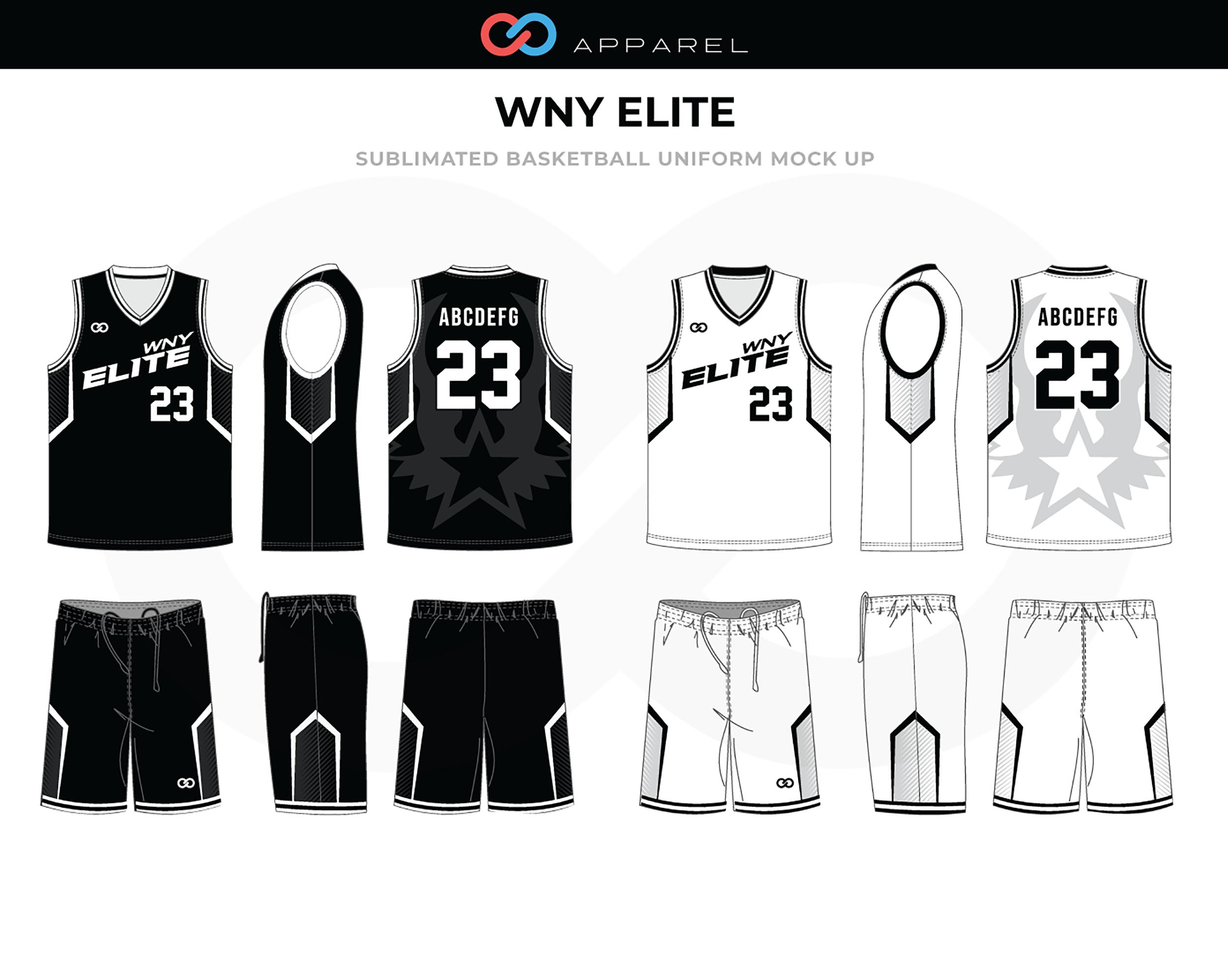 WNY ELITE Black White Basketball Uniform, Jersey and Shorts