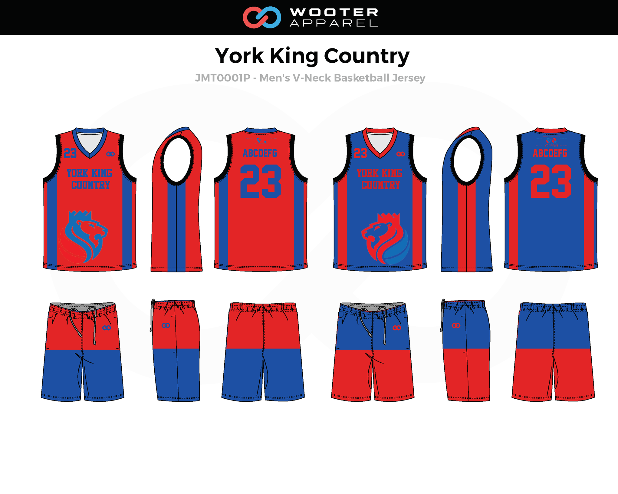 YORK KING COUNTY Blue Red Men's V-Neck Basketball Uniform, Jersey and Shorts