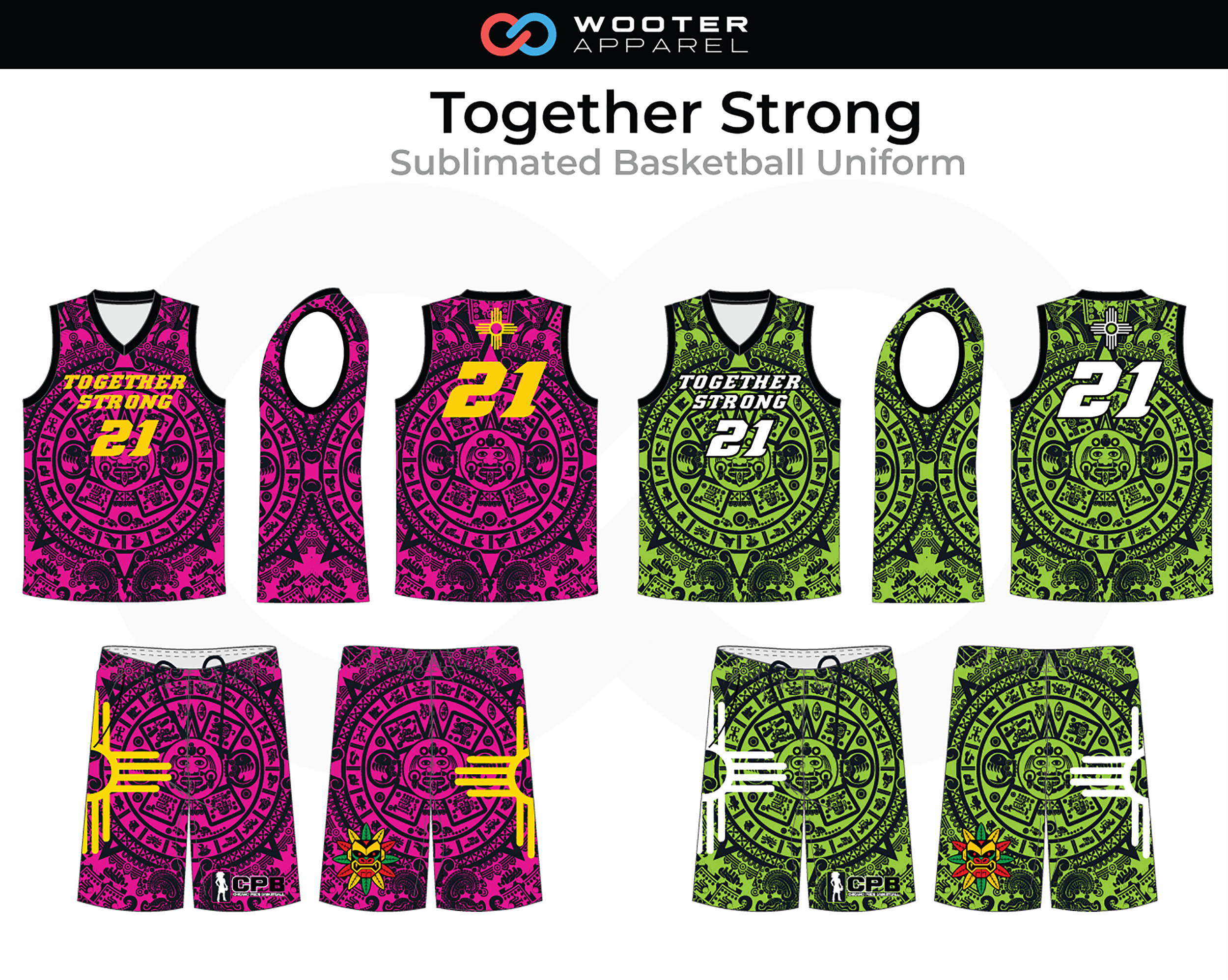 TOGETHER STRONG Purple Green Yellow White Basketball Uniform, Jersey and Shorts