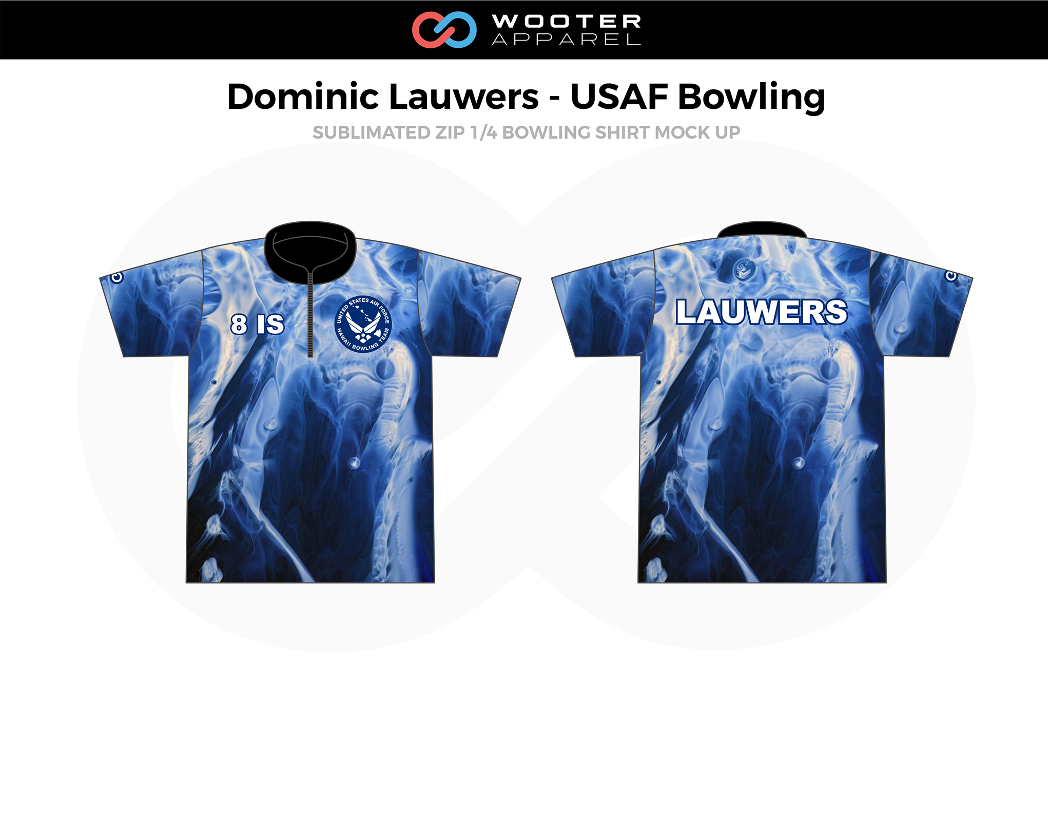 DOMINIC LAUWERS-USAF Blue Black White Zip 1/4 Bowling Shirt