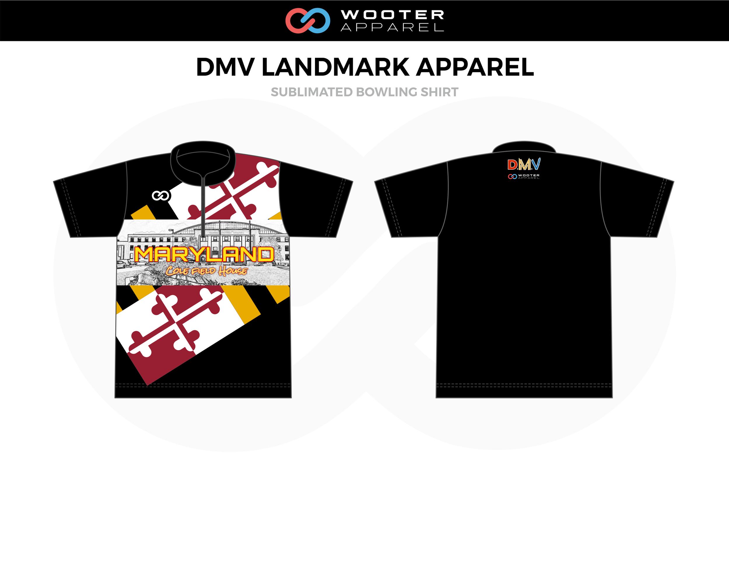 DMV LANDMARK APPAREL White Yellow Red Black Bowling Shirt