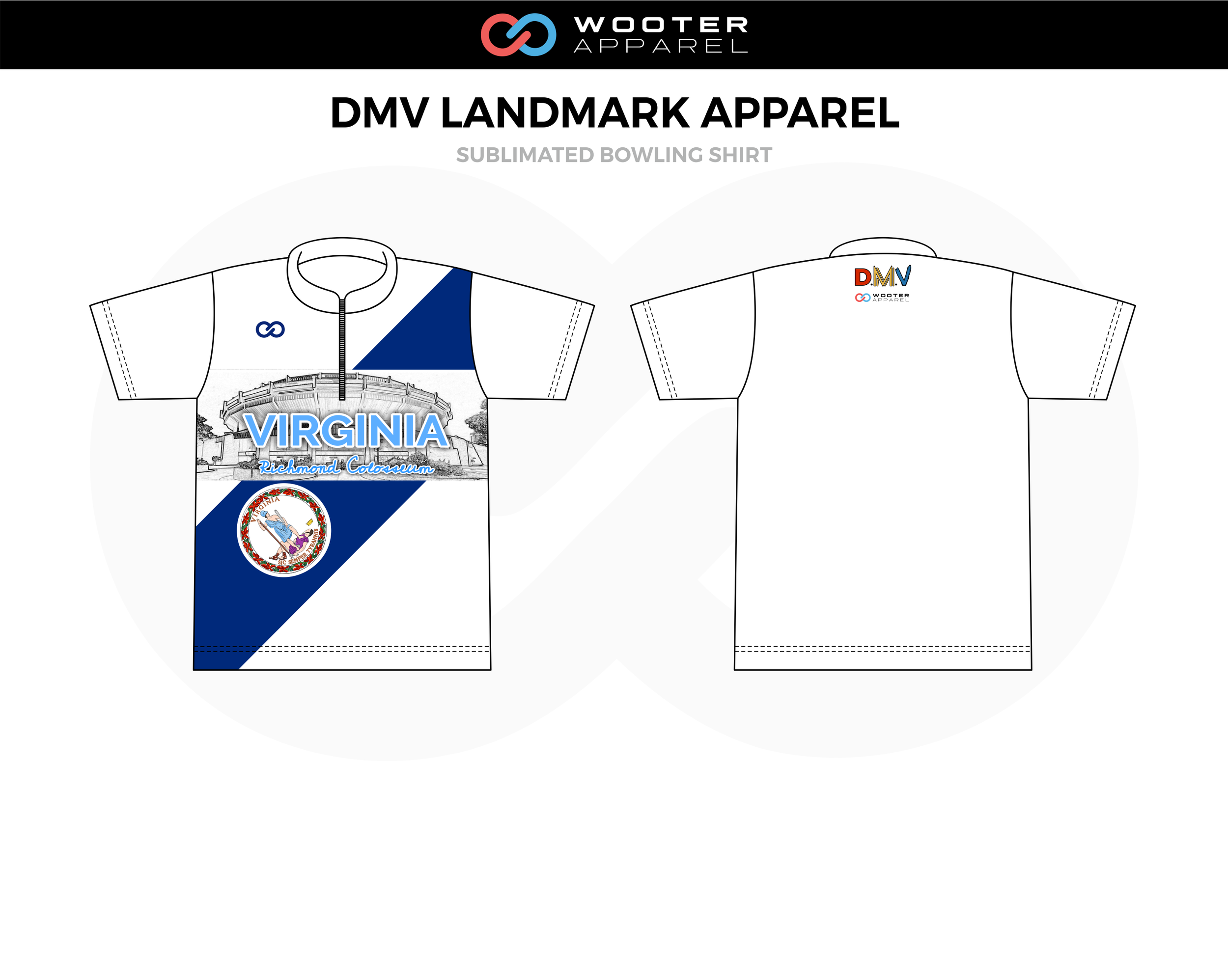 DMV LANDMARK APPAREL White Blue Black Bowling Shirt