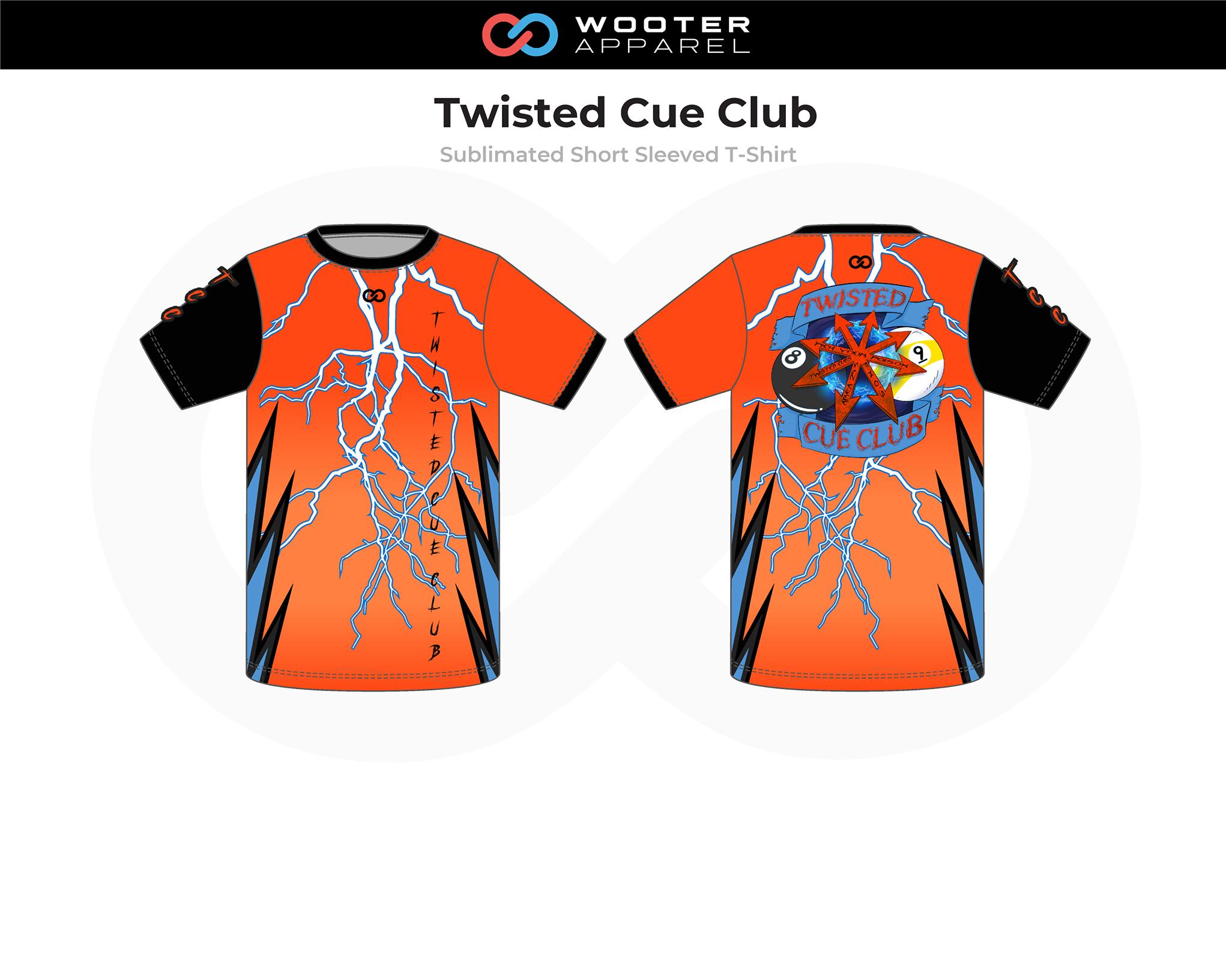 TWISTED CUE CLUB Orange Black Blue Bowling Short Sleeved T-Shirt
