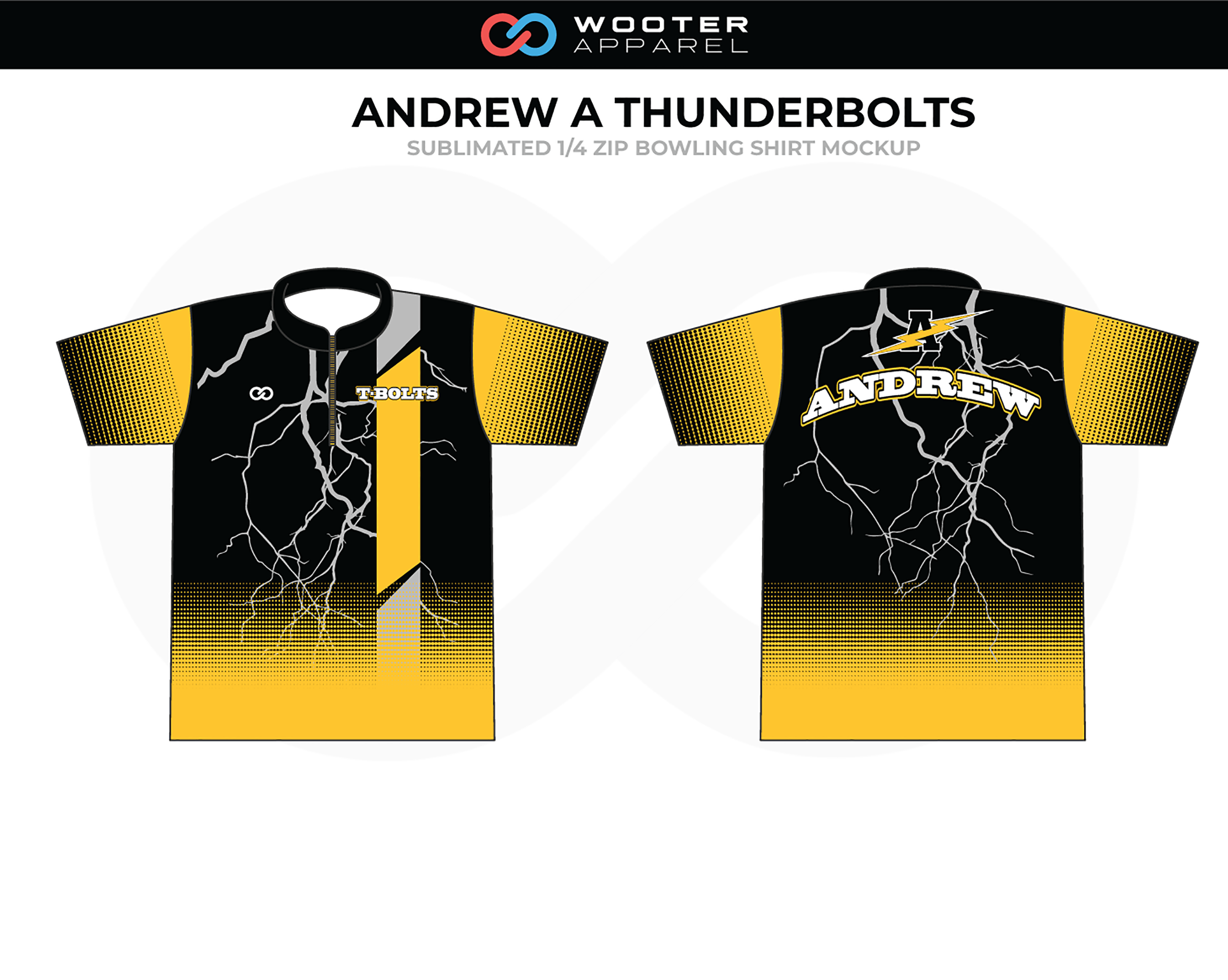 ANDREW A THUNDERBOLTS Black Yellow White 1/4 Zip Bowling Shirt