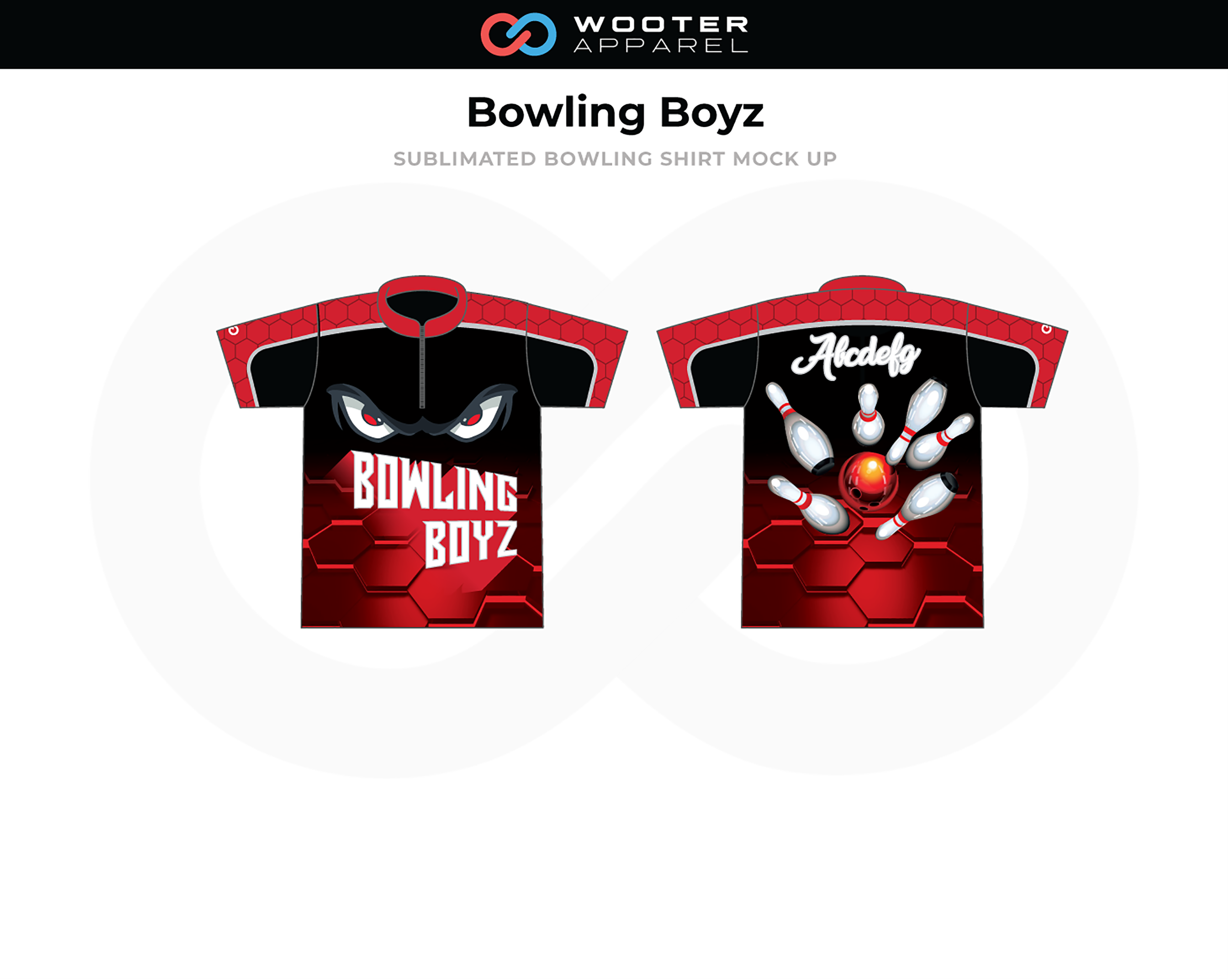 BOWLING BOYZ  Red Black White Bowling Shirt