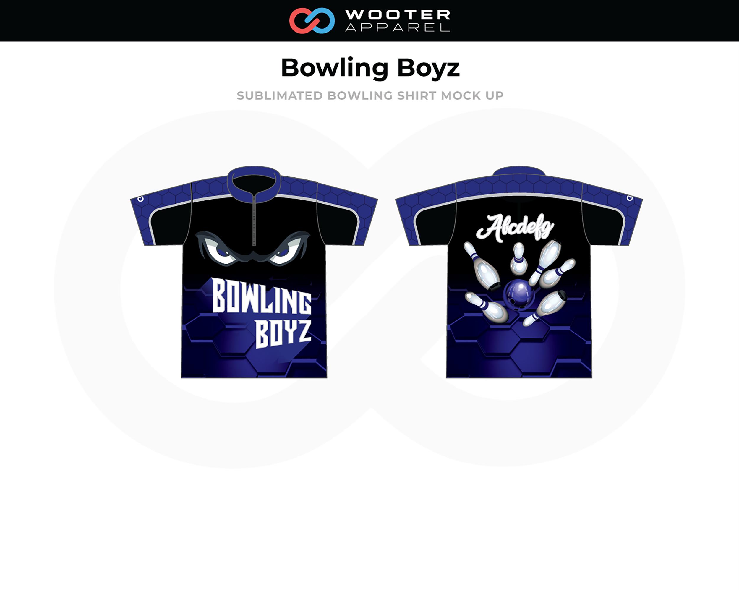 BOWLING BOYZ Blue Black White Bowling Shirt