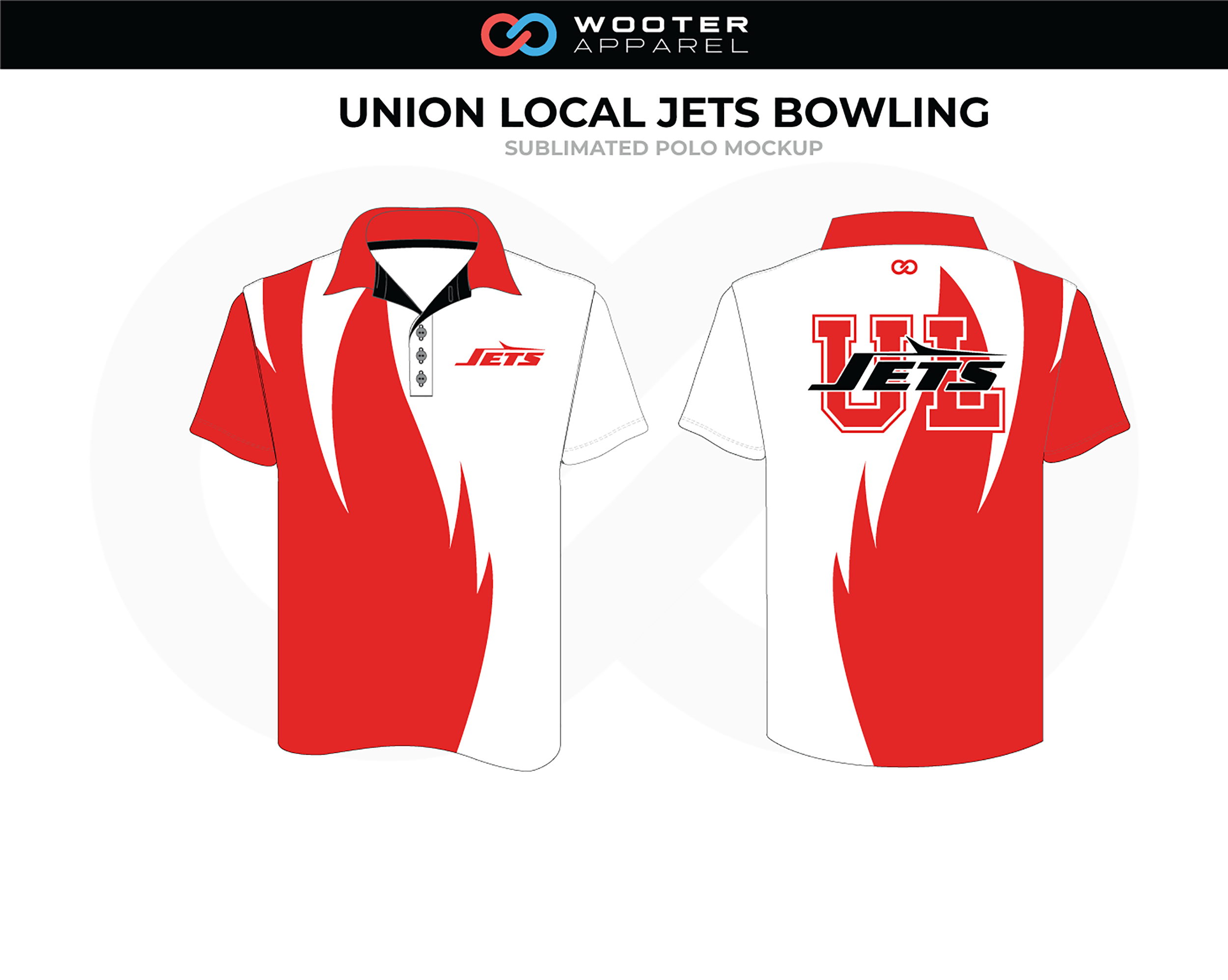 UNION LOCAL JETS Red White Black Bowling Polo