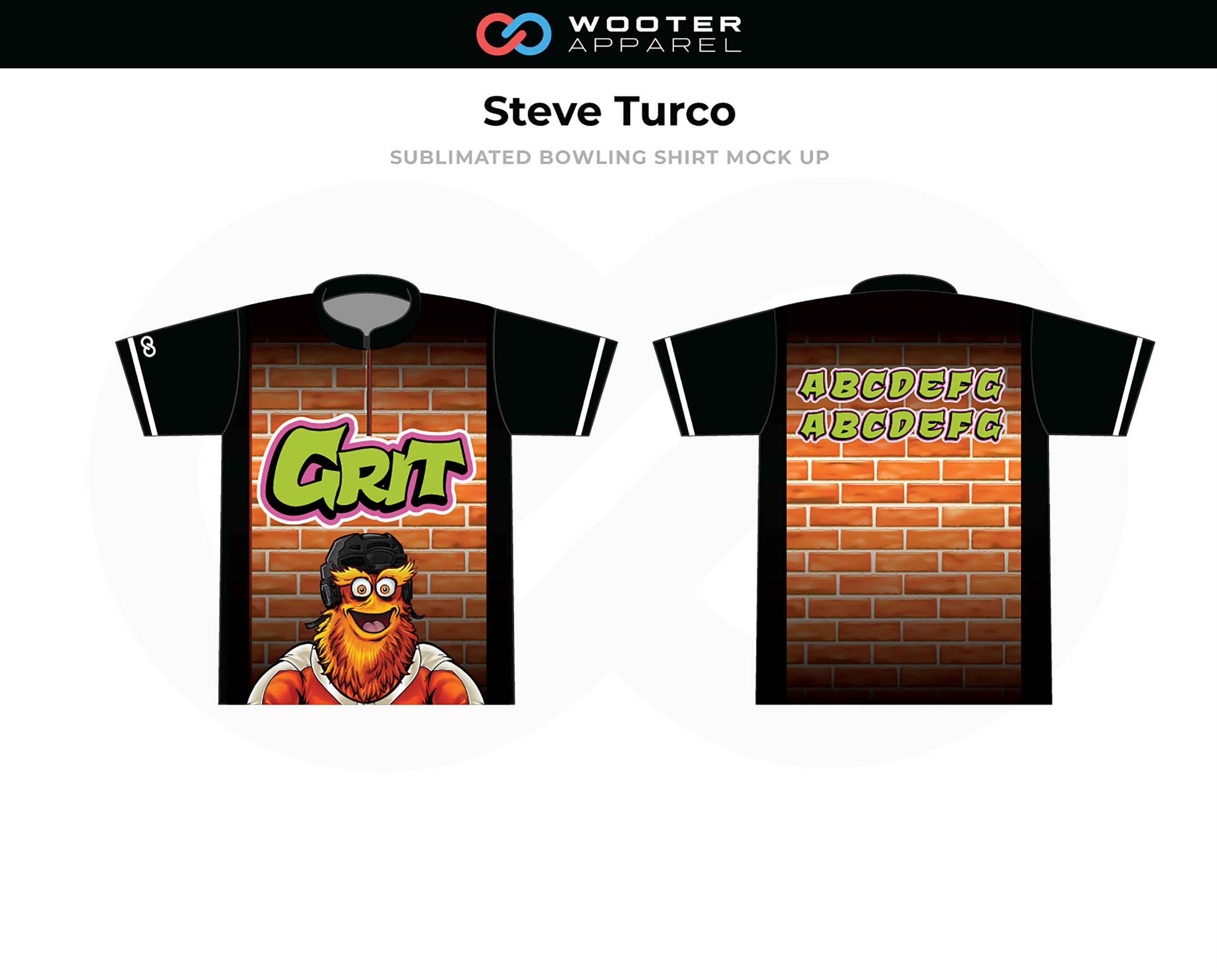 STEVE TURCO Orange Black Green Bowling Shirt