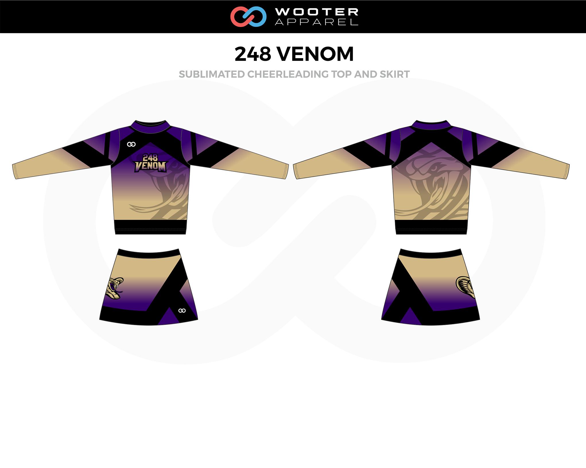 248 VENOM Brown Lavender Black Cheer Uniform, Top and Skirt