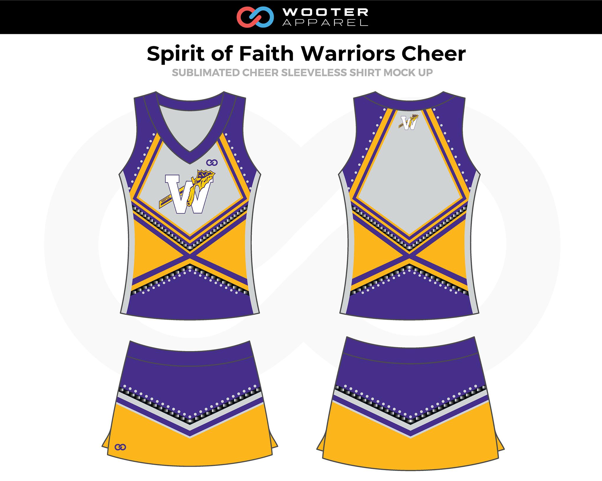 SPIRIT OF FAITH WARRIORS Yellow Lavender White Cheer Uniform, Sleeveless and Skirt