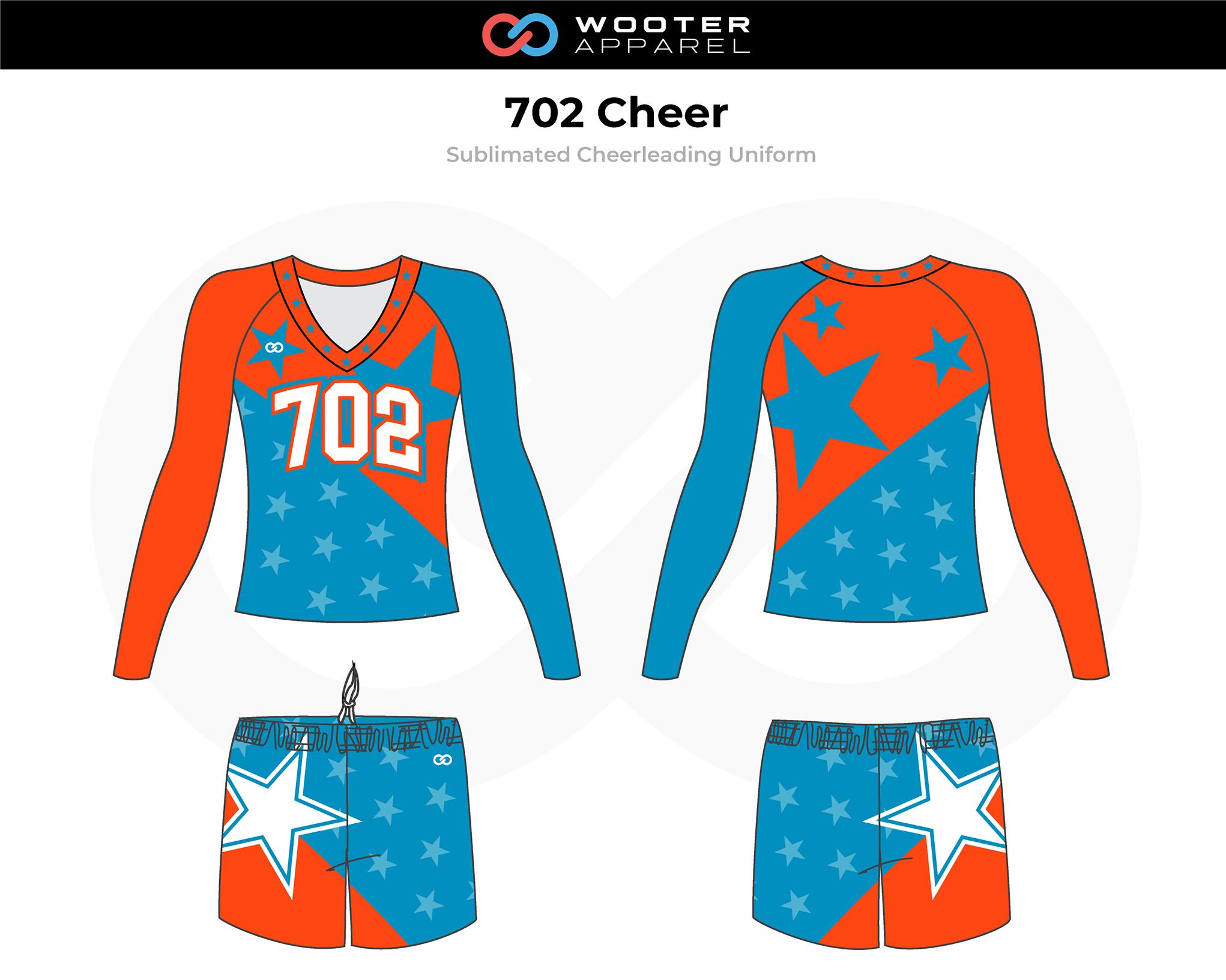 702 Blue Orange White Cheer Uniform, V-Neck Long Sleeve, and Skirt