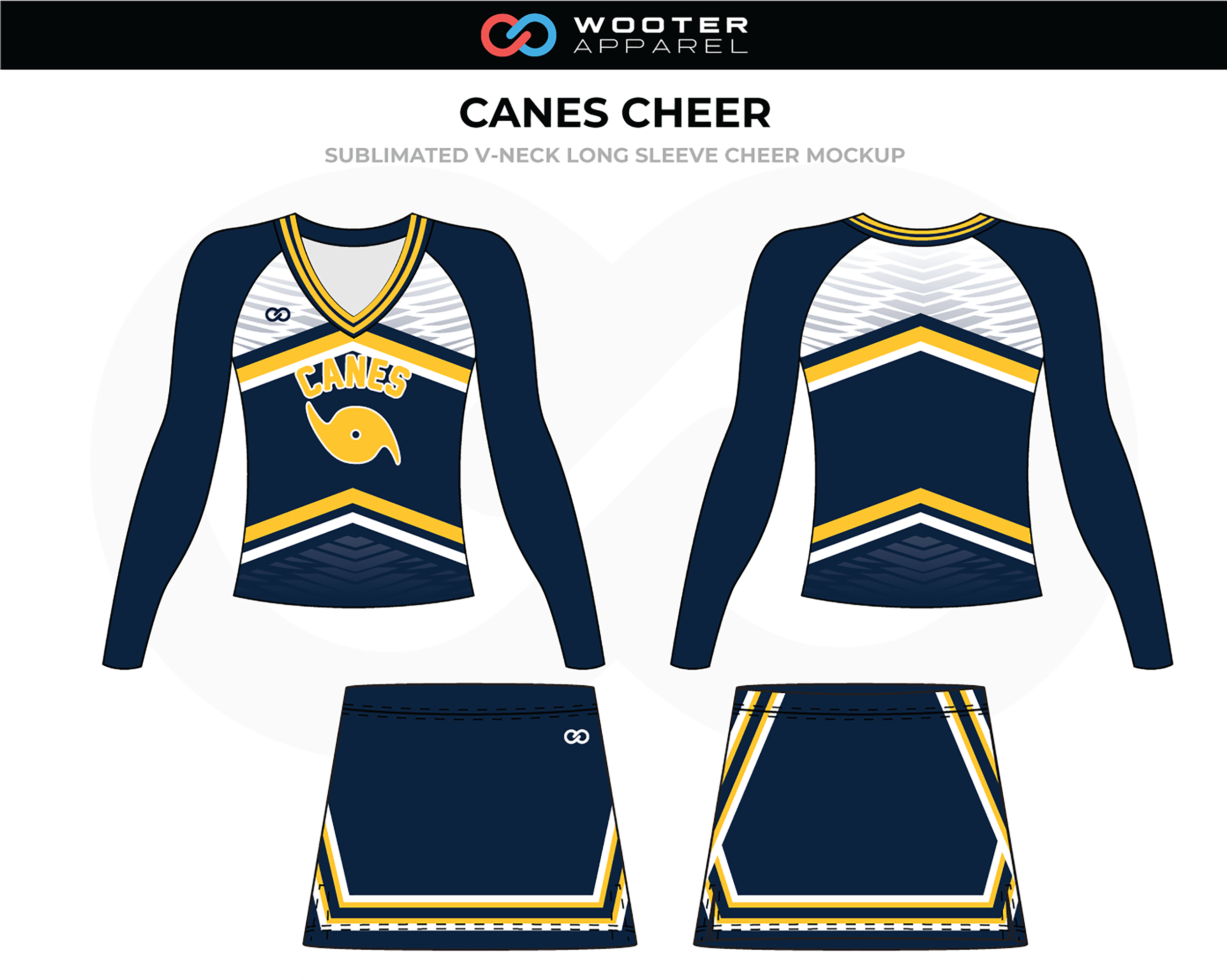 CANES Blue White Yellow Cheer Uniform, V-Neck Long Sleeve, and Skirt