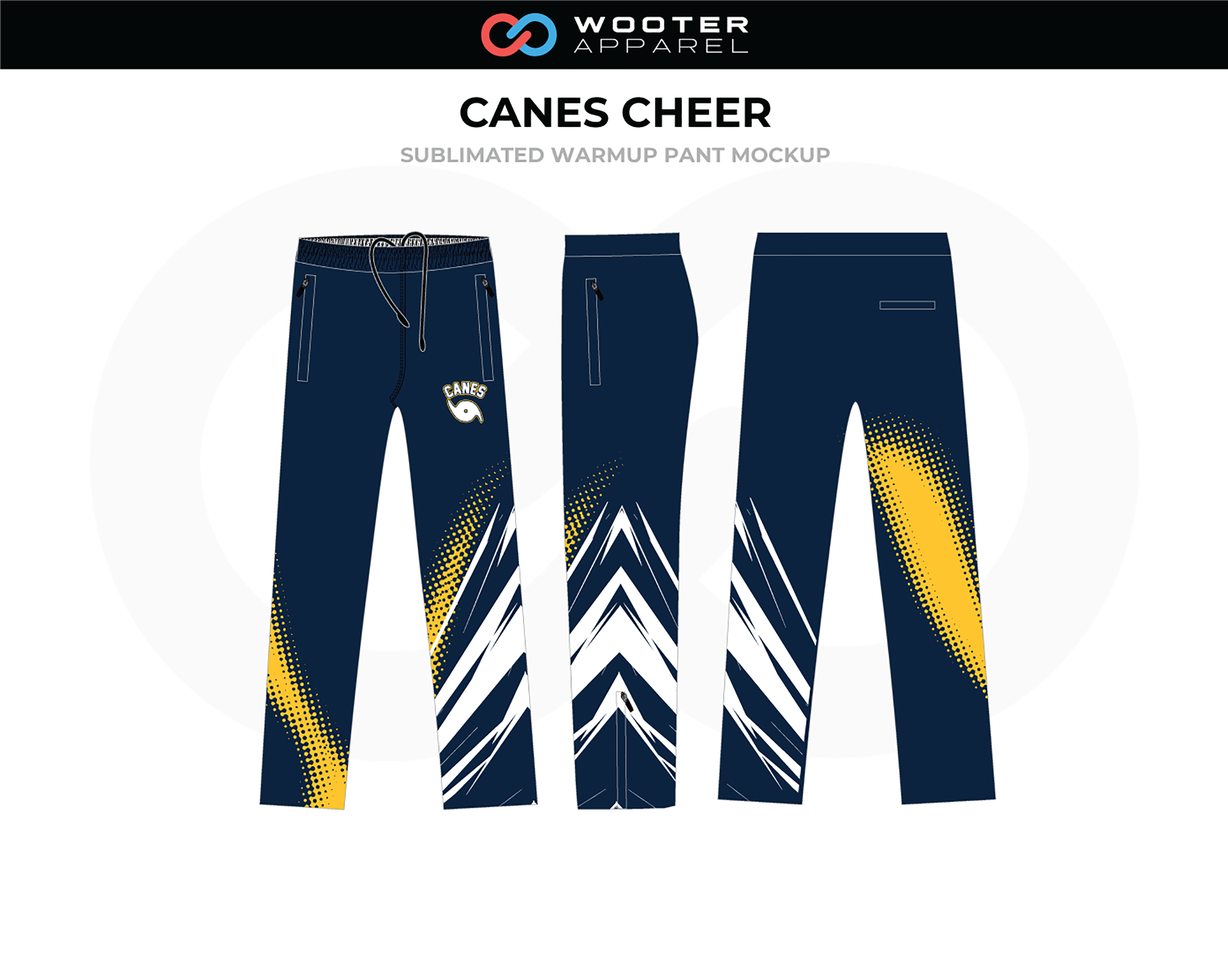 CANES Blue White Yellow Cheer Warmup Pants