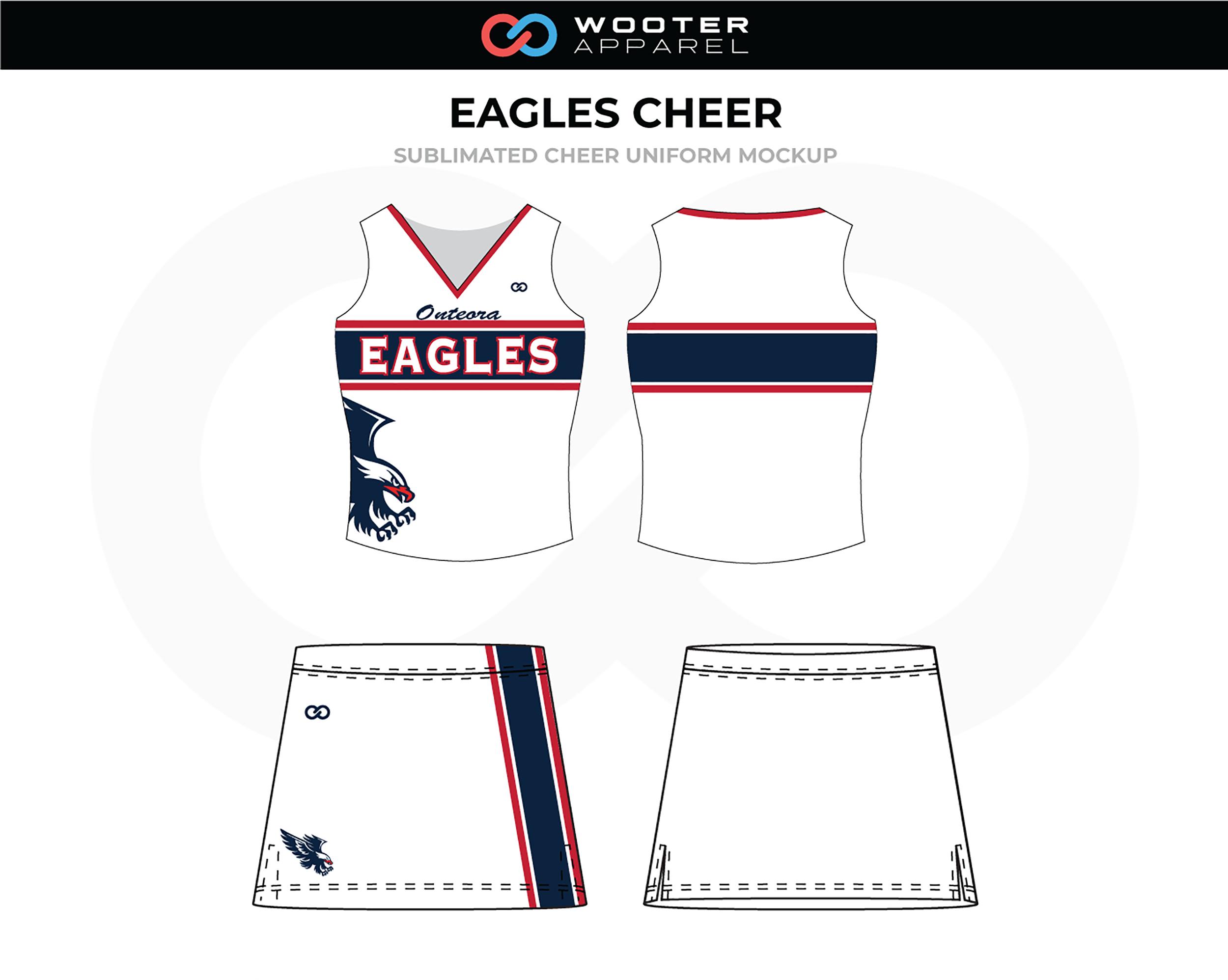 EAGLES White Black Red Cheer Uniform, Sleeveless and Skirt