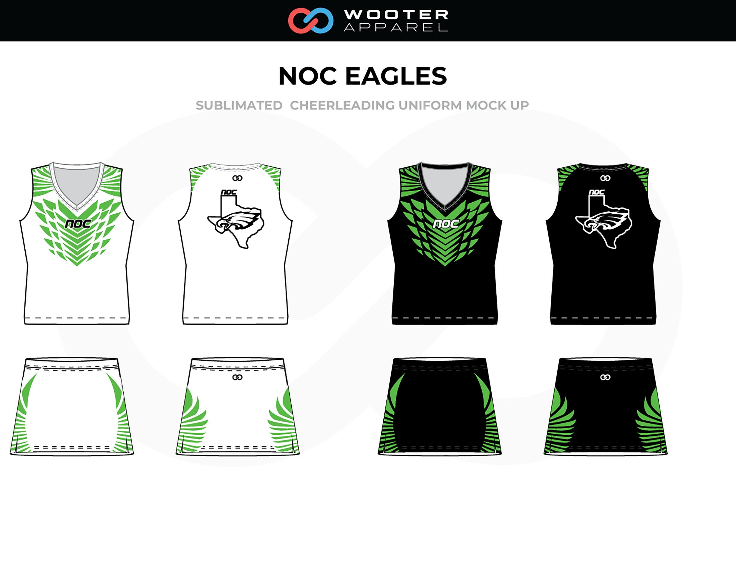 NOC EAGLES White Green Black Cheer Uniform, Sleeveless and Skirts