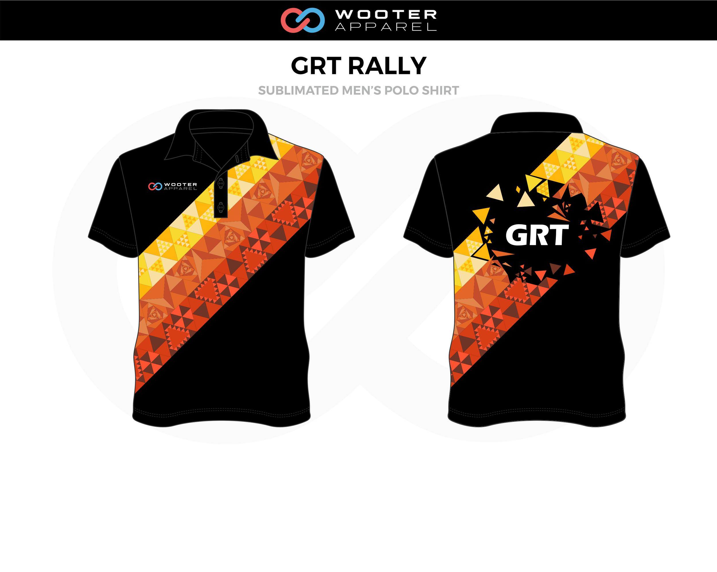 GRT RALLY Black Orange Yellow Esports Men's Polo Shirt