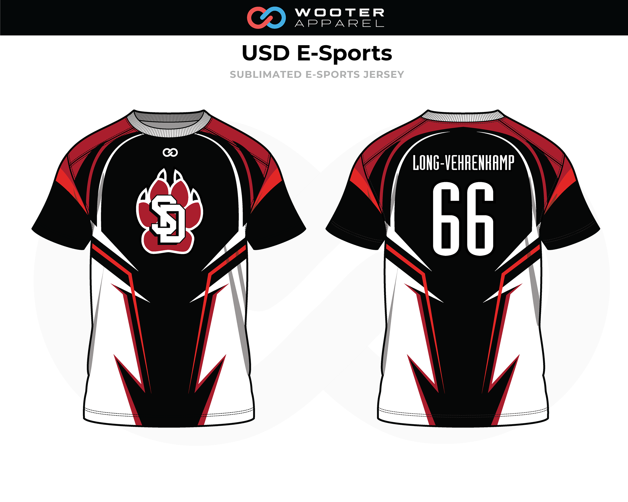 USD Black White Red E-Sports Jersey