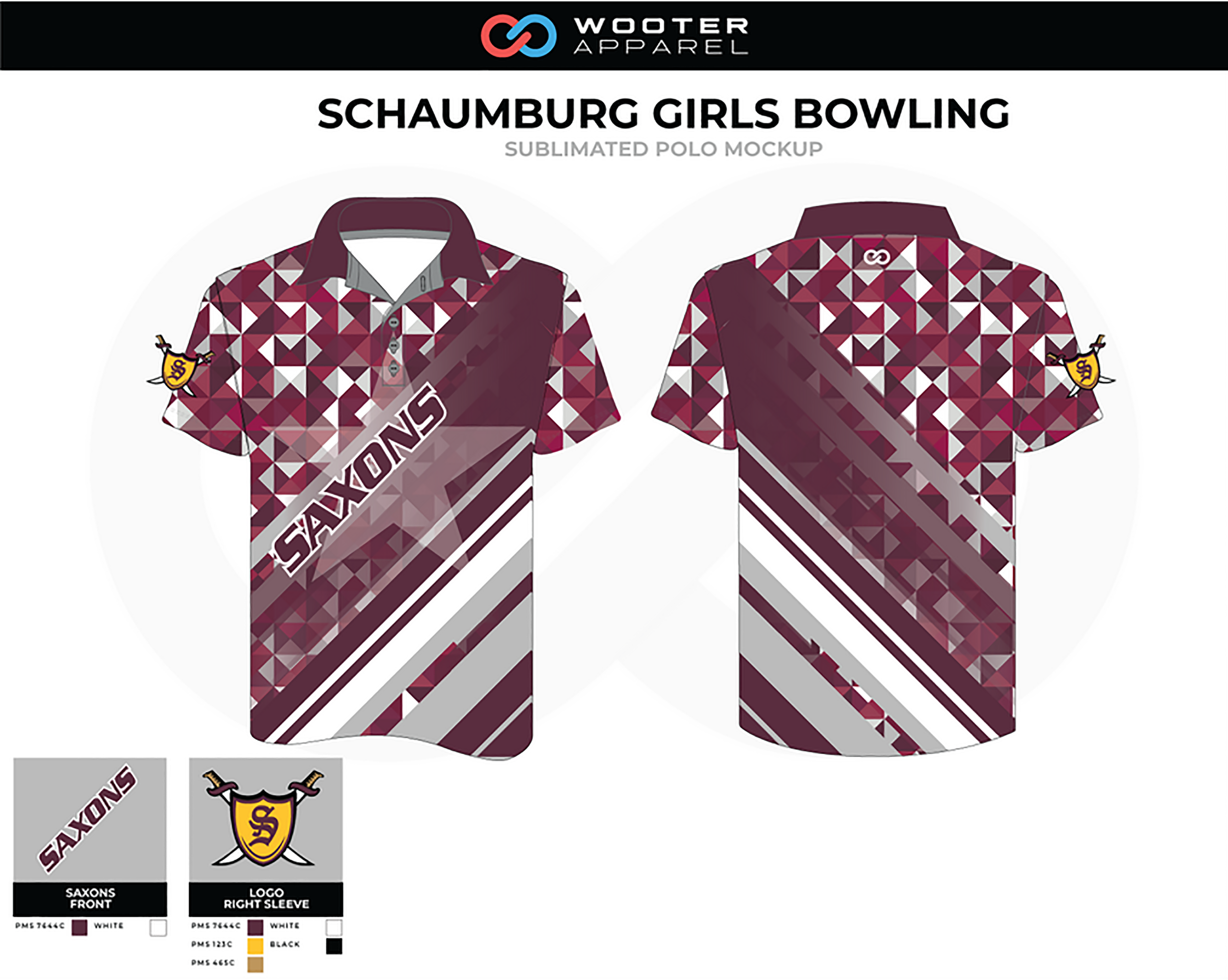 SCHAUMBURG Maroon White Girls Bowling Polo