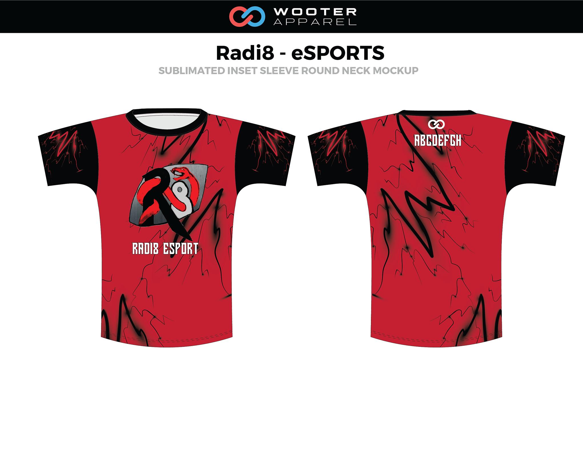 RADI8 Red Black E-Sports Inset Sleeve Round Neck Jersey