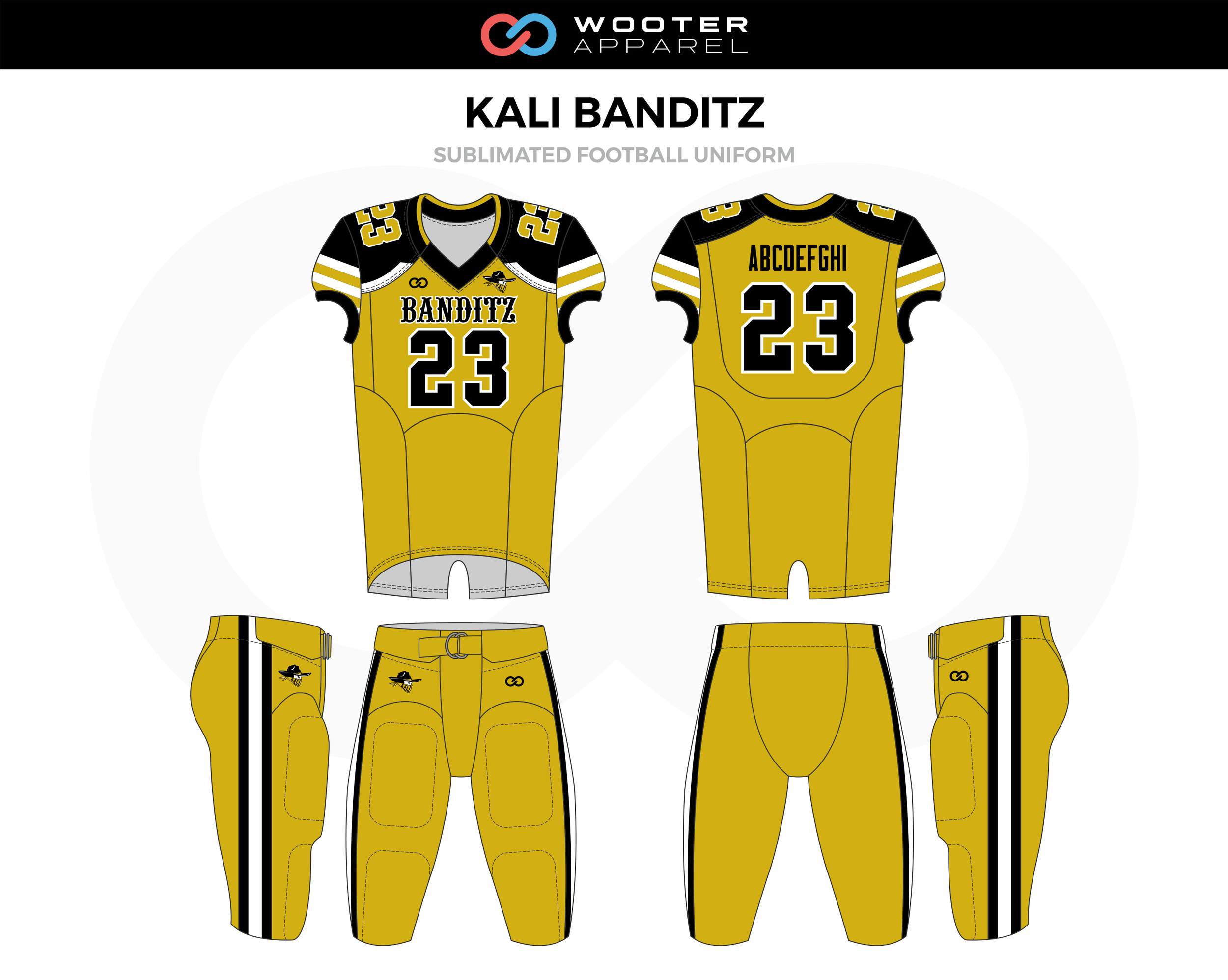 KALI BANDITZ Yellow Black White Football Uniform, Jerseys, and Pants