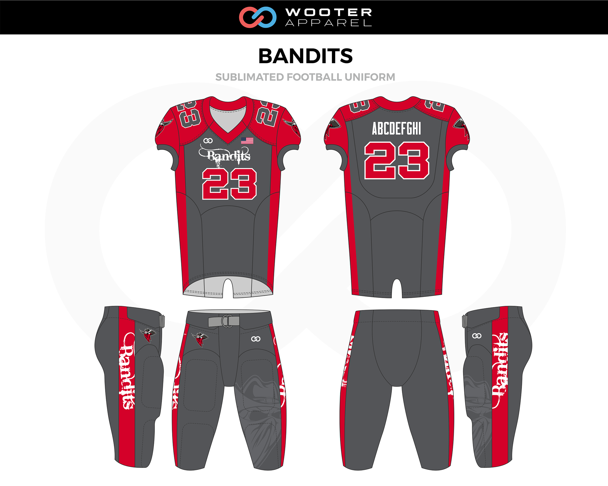 BANDITS Red Gray White Football Uniform, Jerseys, and Pants