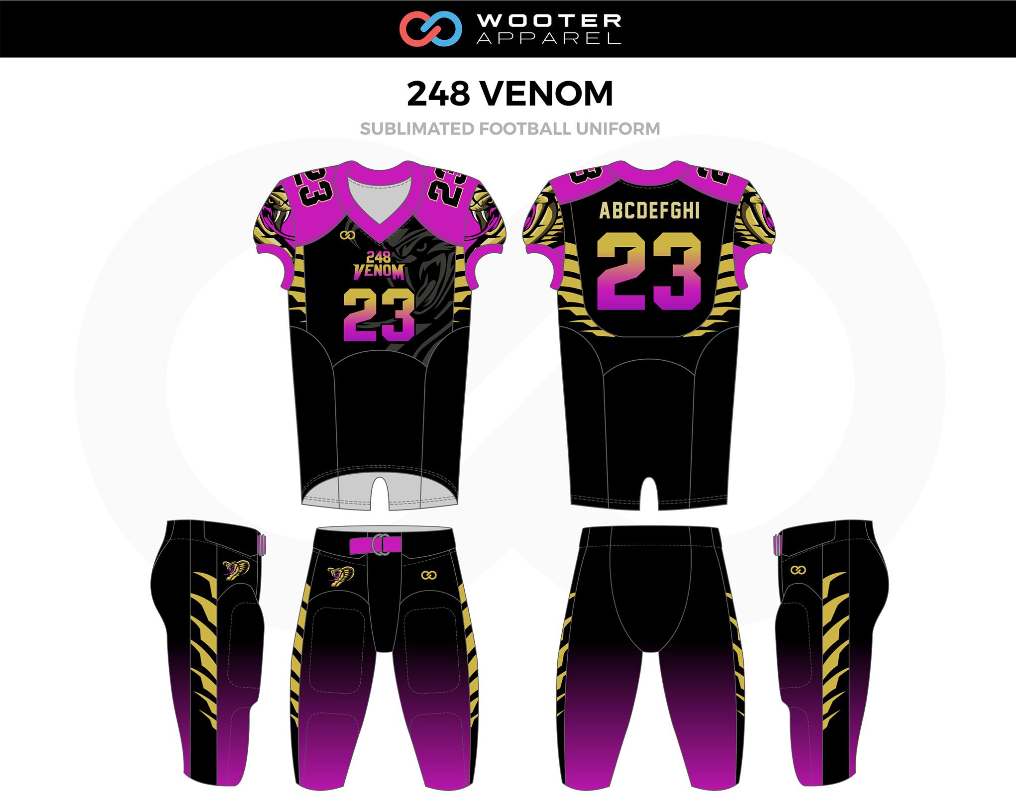 248 VENOM Gold Lavender Black Football Uniform, Jerseys, and Pants