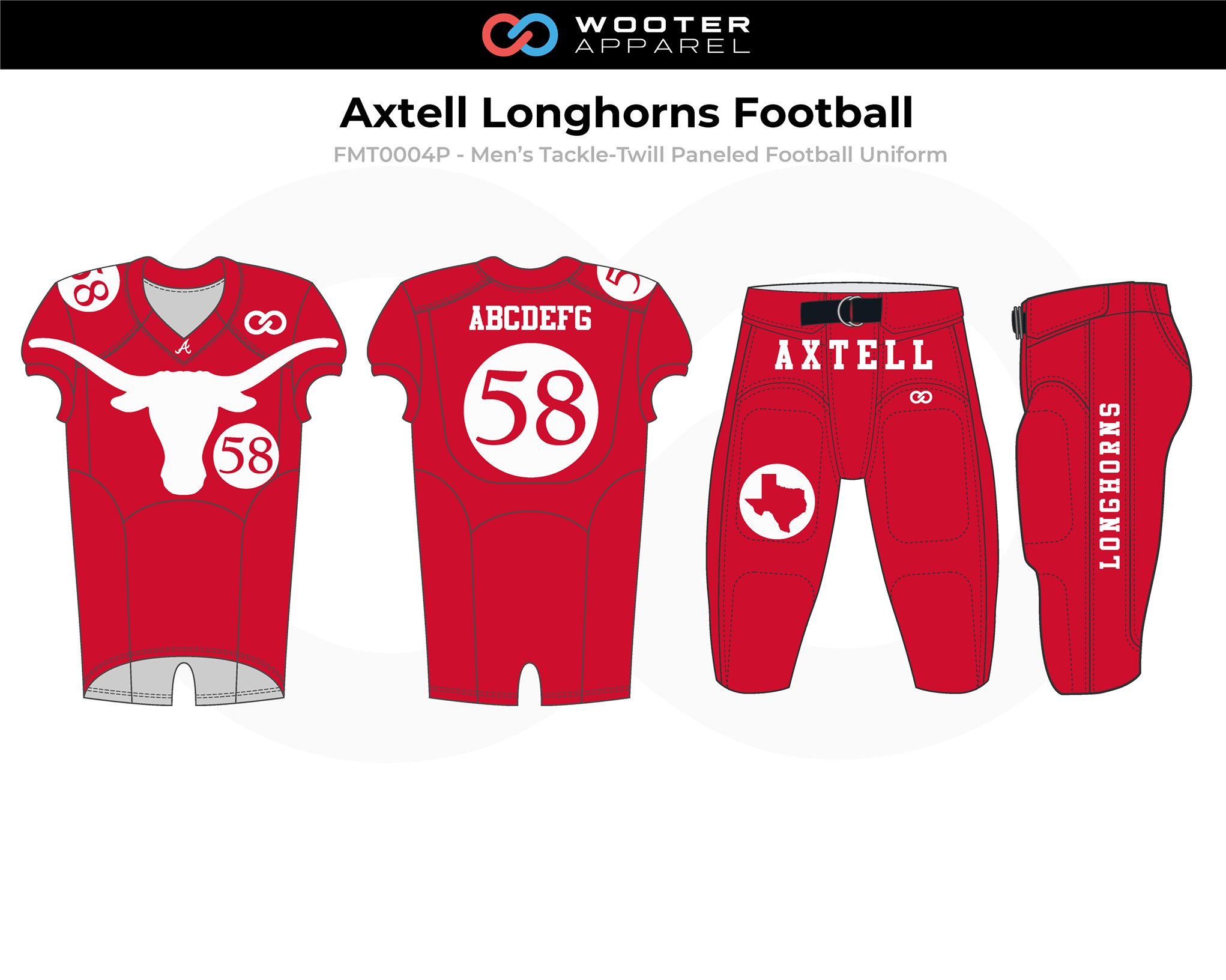AXTELL LONGHORNS Red White Men's Tackle-Twill Football Uniforms, Jerseys, and Pants