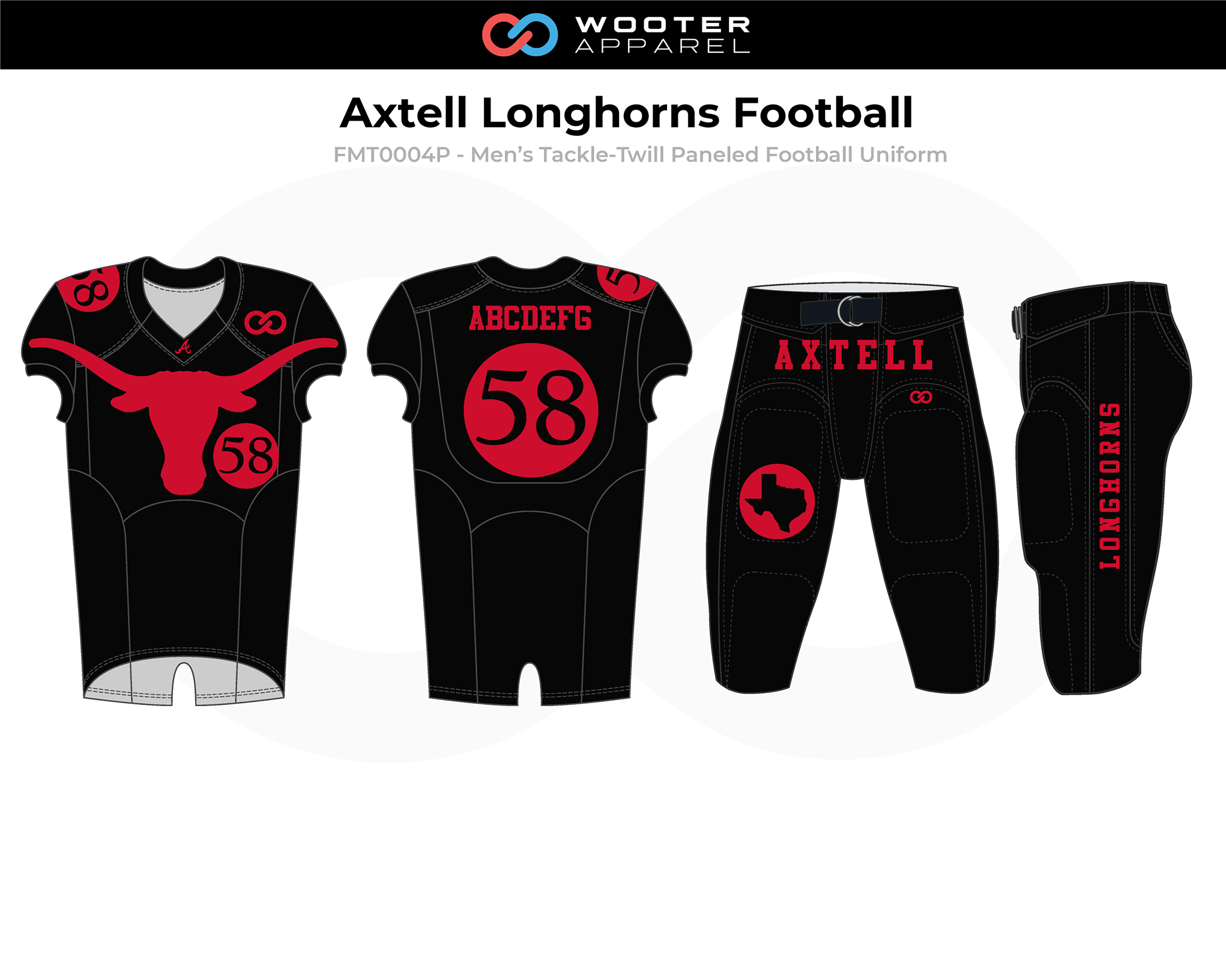 AXTELL LONGHORNS Red Black Men's Tackle-Twill Football Uniforms, Jerseys, and Pants