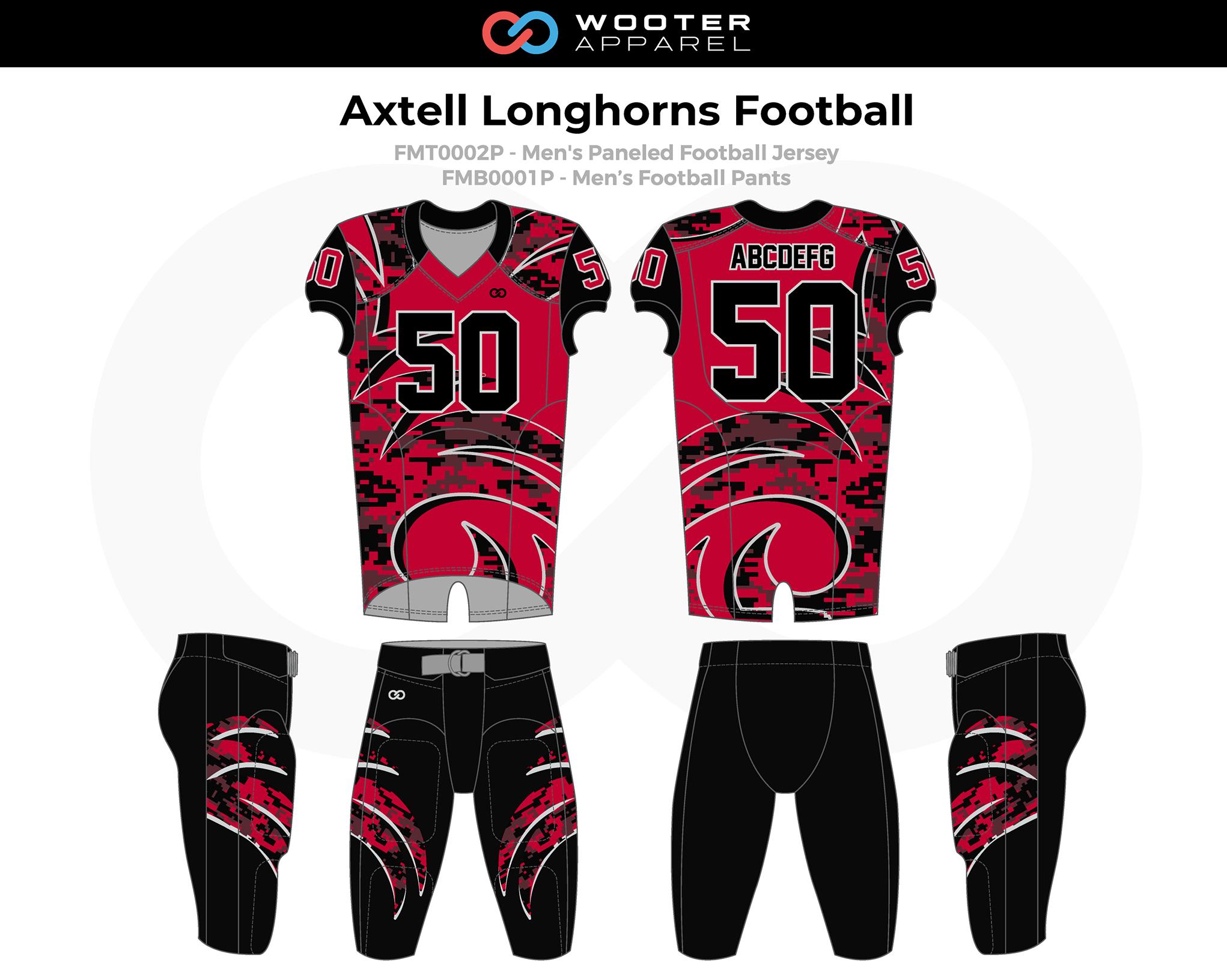 AXTELL LONGHORNS Red Black Men's Football Uniforms, Jerseys, and Pants