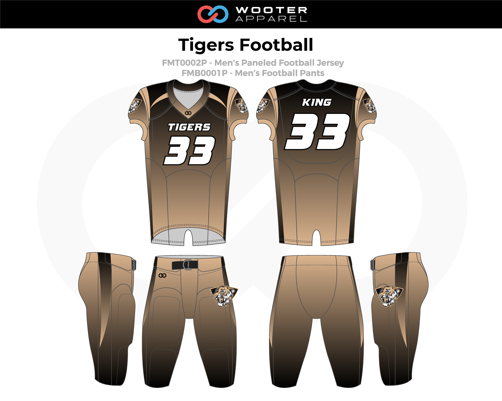 TIGERS Brown White Men's Football Uniforms, Jerseys, and Pants