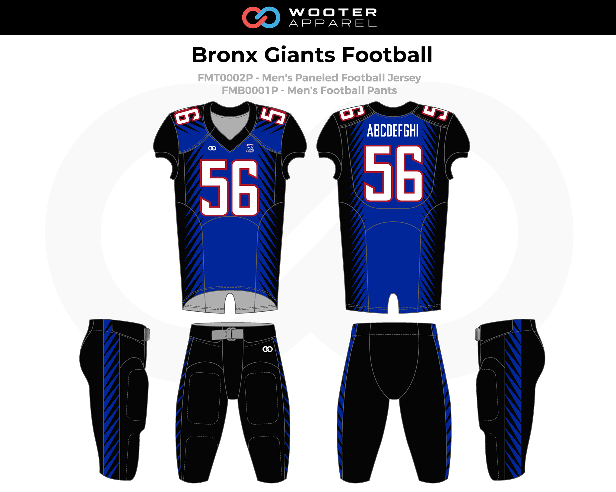 BRONX GIANTS Blue Black White Football Uniforms, Jerseys, and Pants