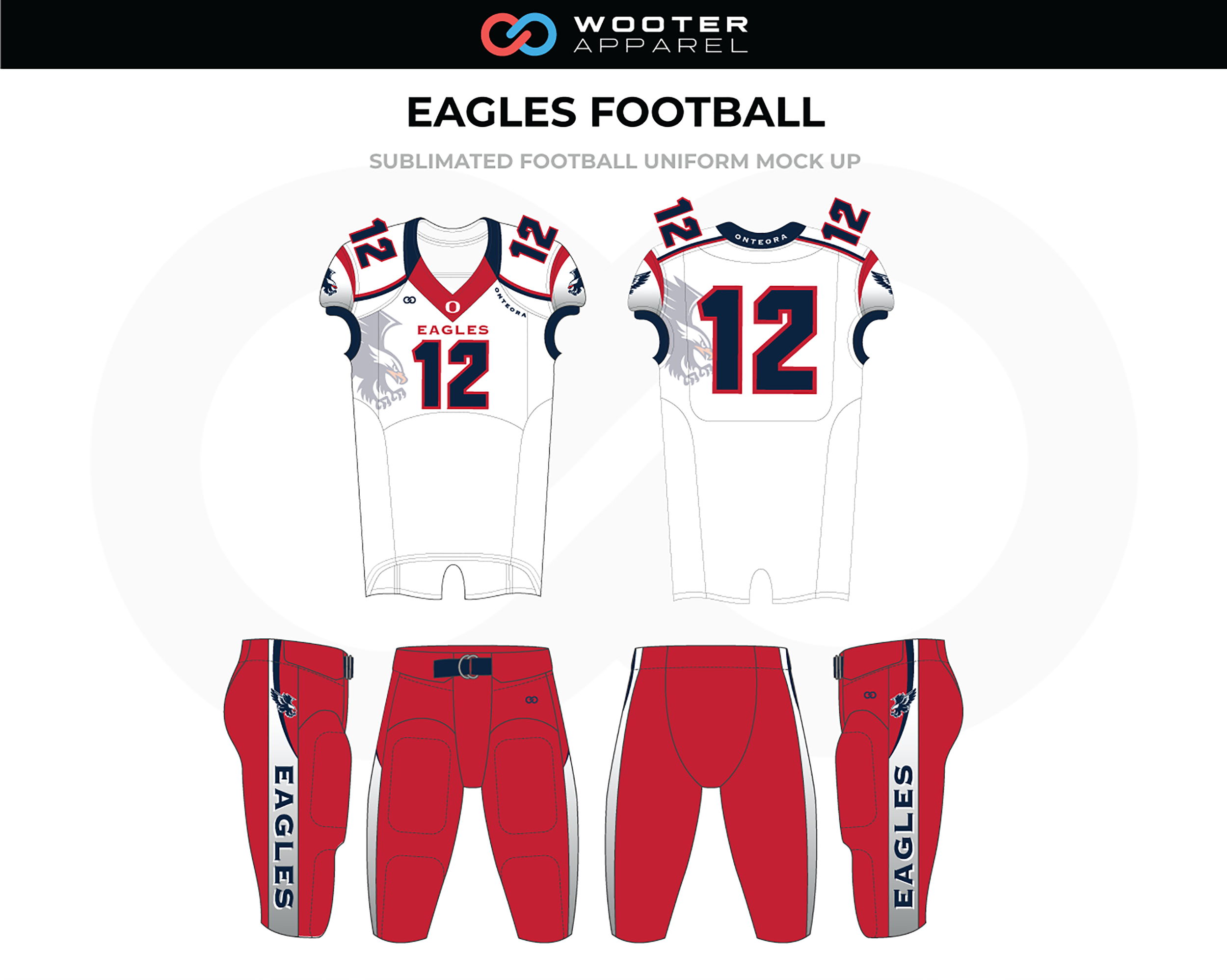 EAGLES White Red Black Football Uniforms, Jerseys, and Pants