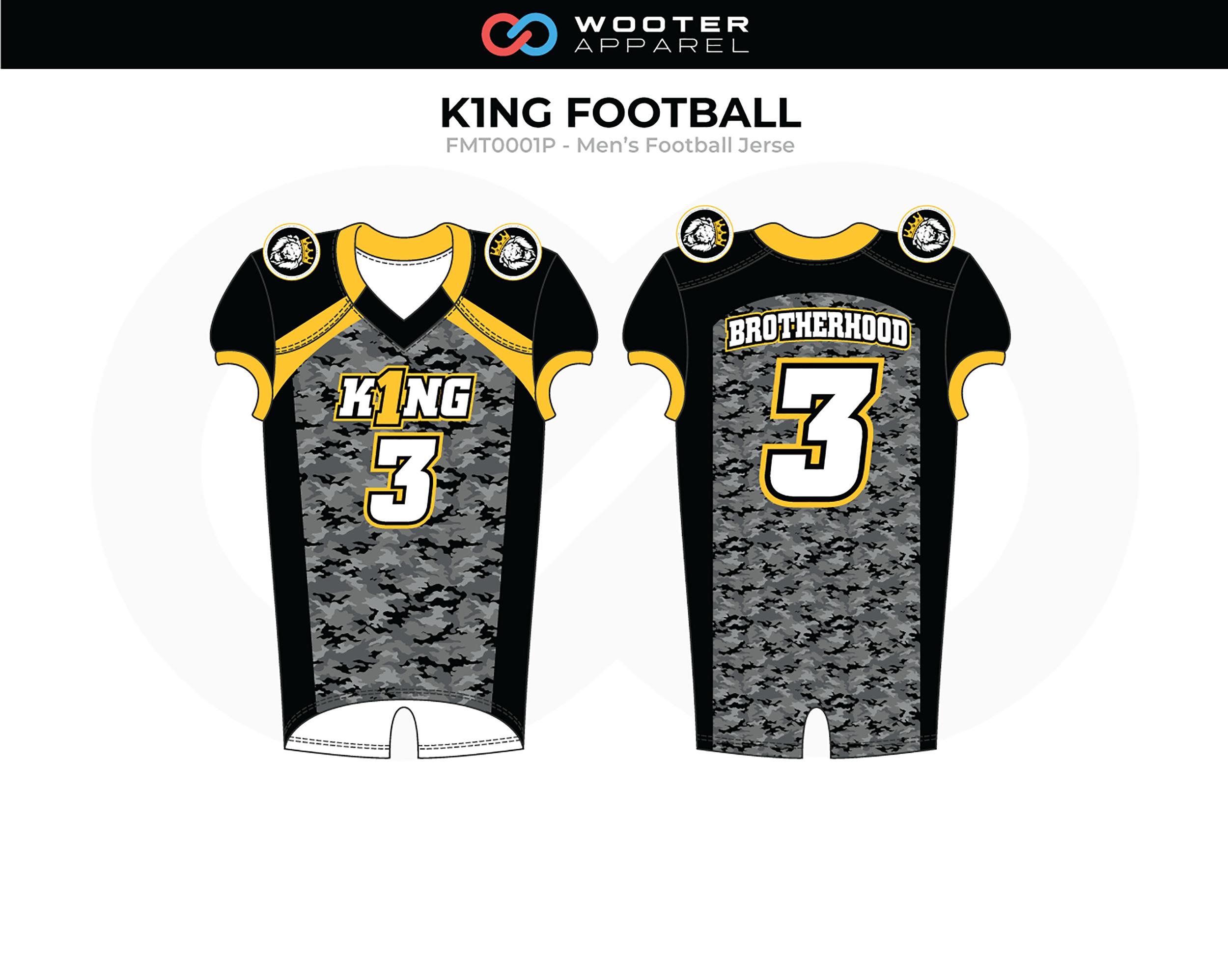KING Black Yellow White Men's Football Jersey
