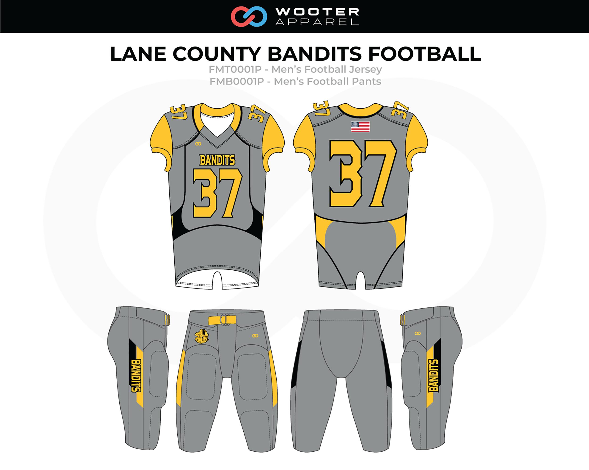 LANE COUNTY BANDITS Gray Yellow Men's Football Uniforms, Jerseys, and Pants