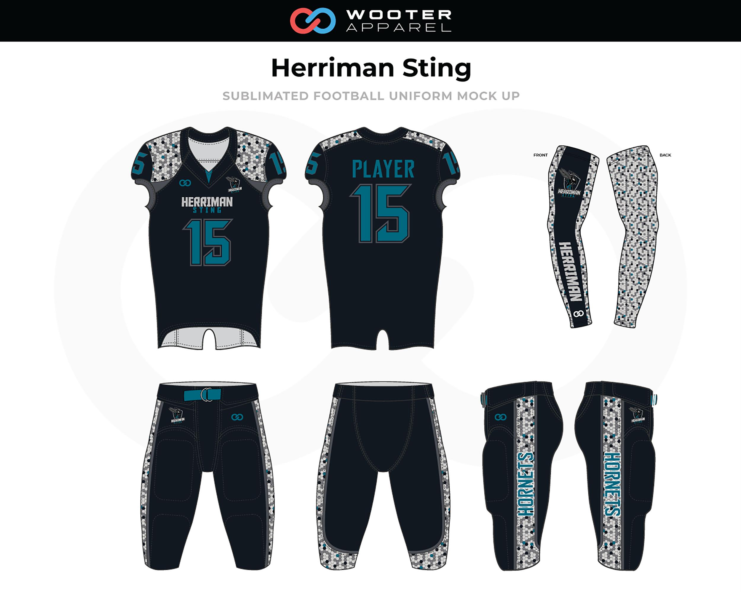 Herriman Sting Black White Blue Football Uniforms, Jerseys, and Pants