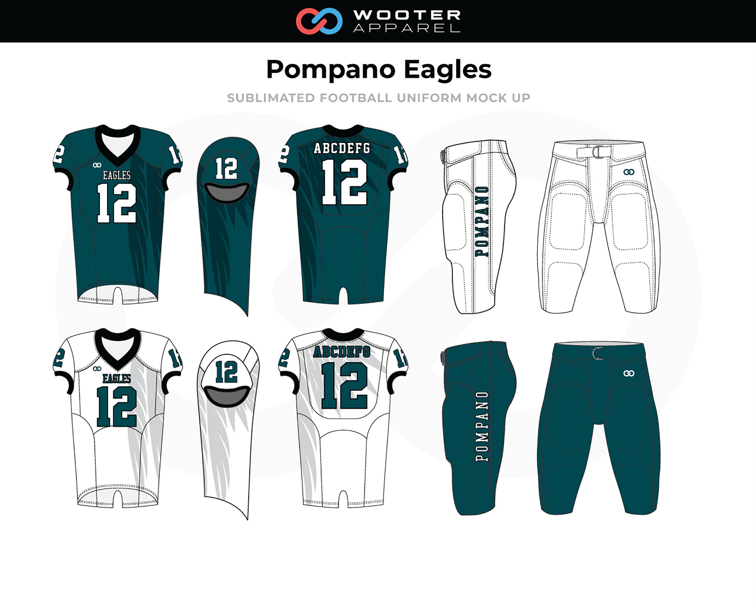 POMPANO EAGLES Blue White Football Uniforms, Jerseys, and Pants