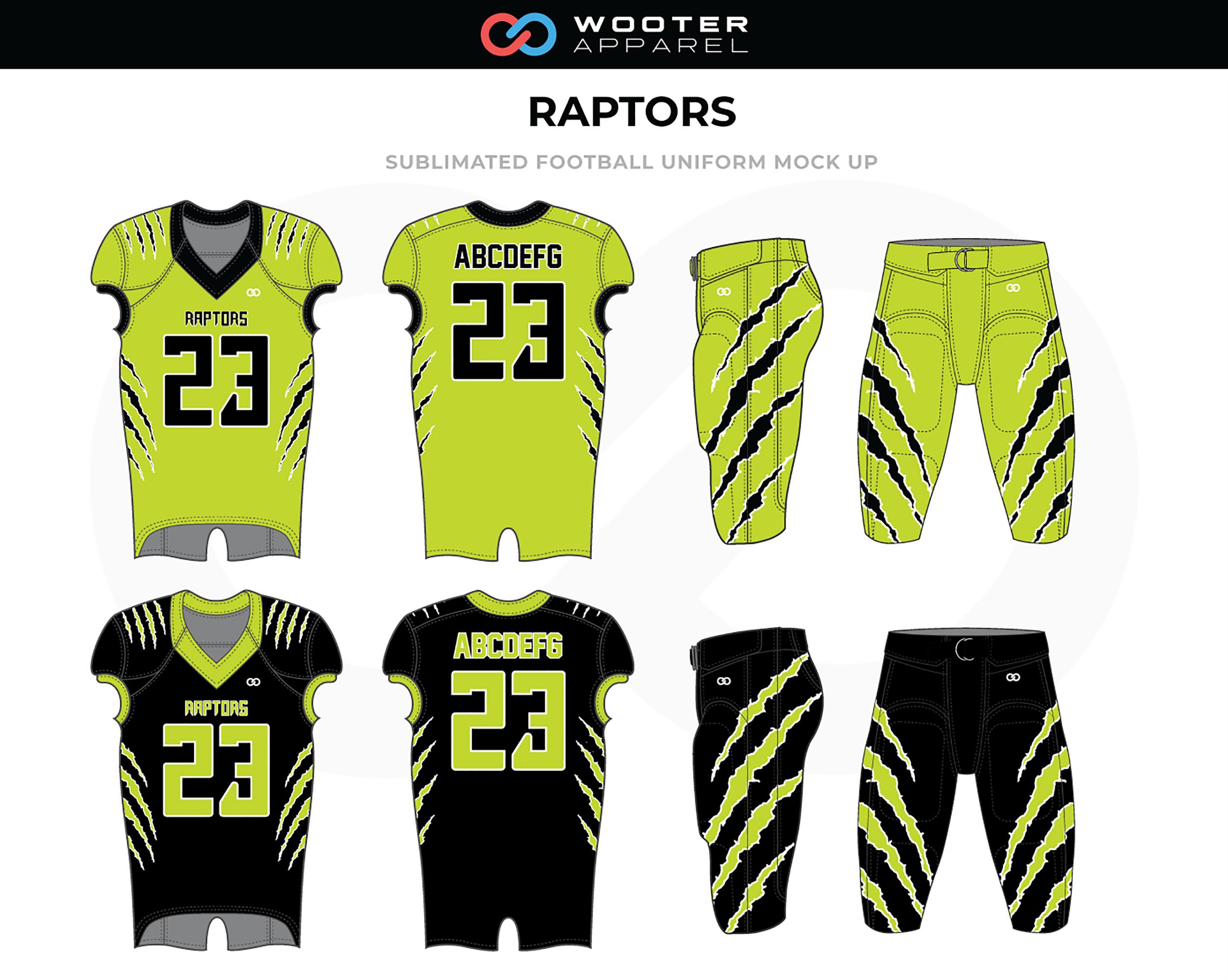 RAPTORS Neon Green Black Football Uniforms, Jerseys, and Pants