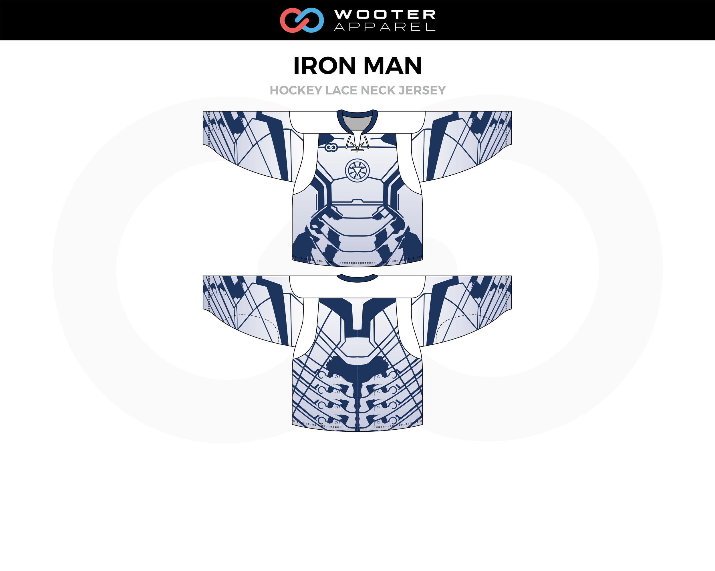 IRON MAN Blue White Hockey Lace Neck Jersey