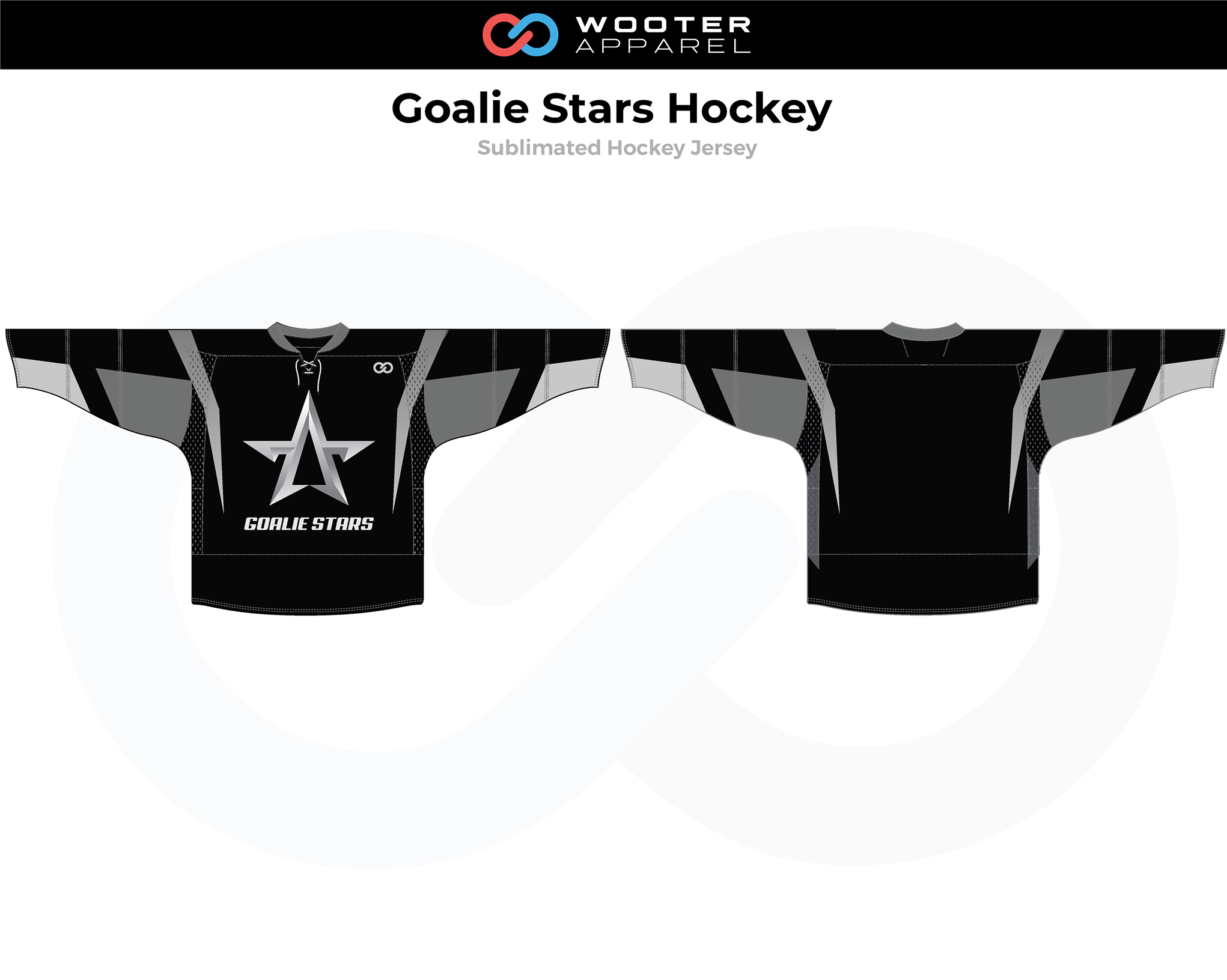 GOALIE STARS Black Gray White Hockey Jersey