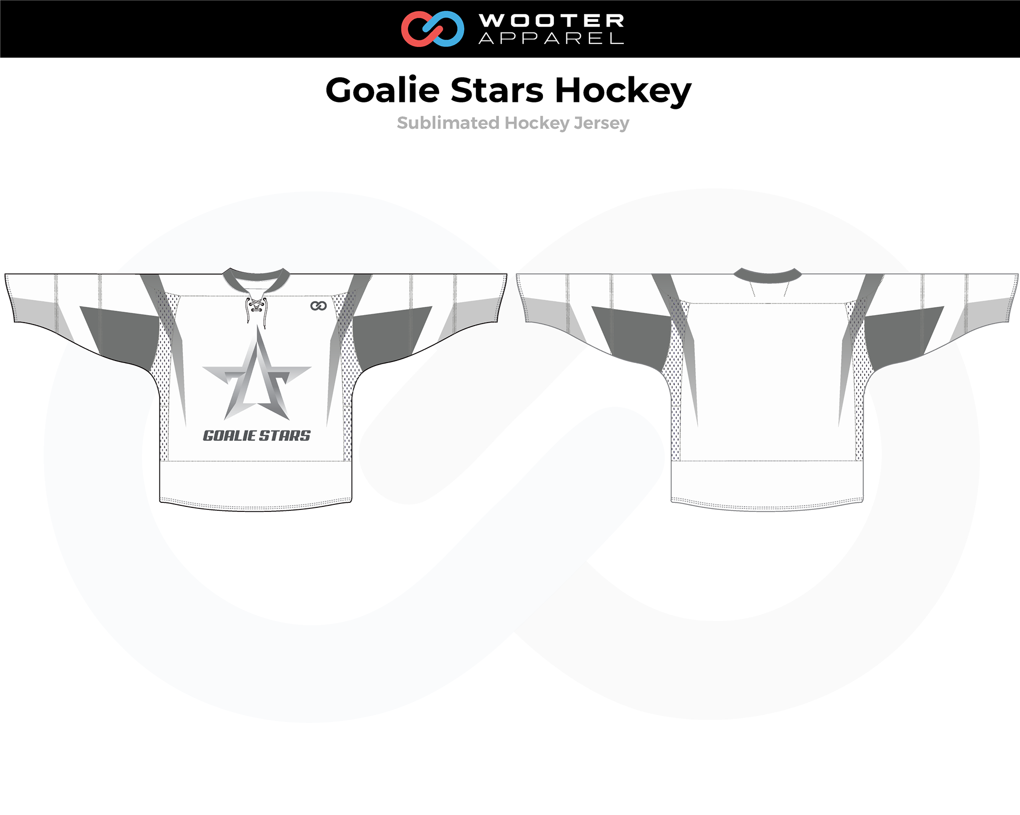 GOALIE STARS Black White Hockey Jersey