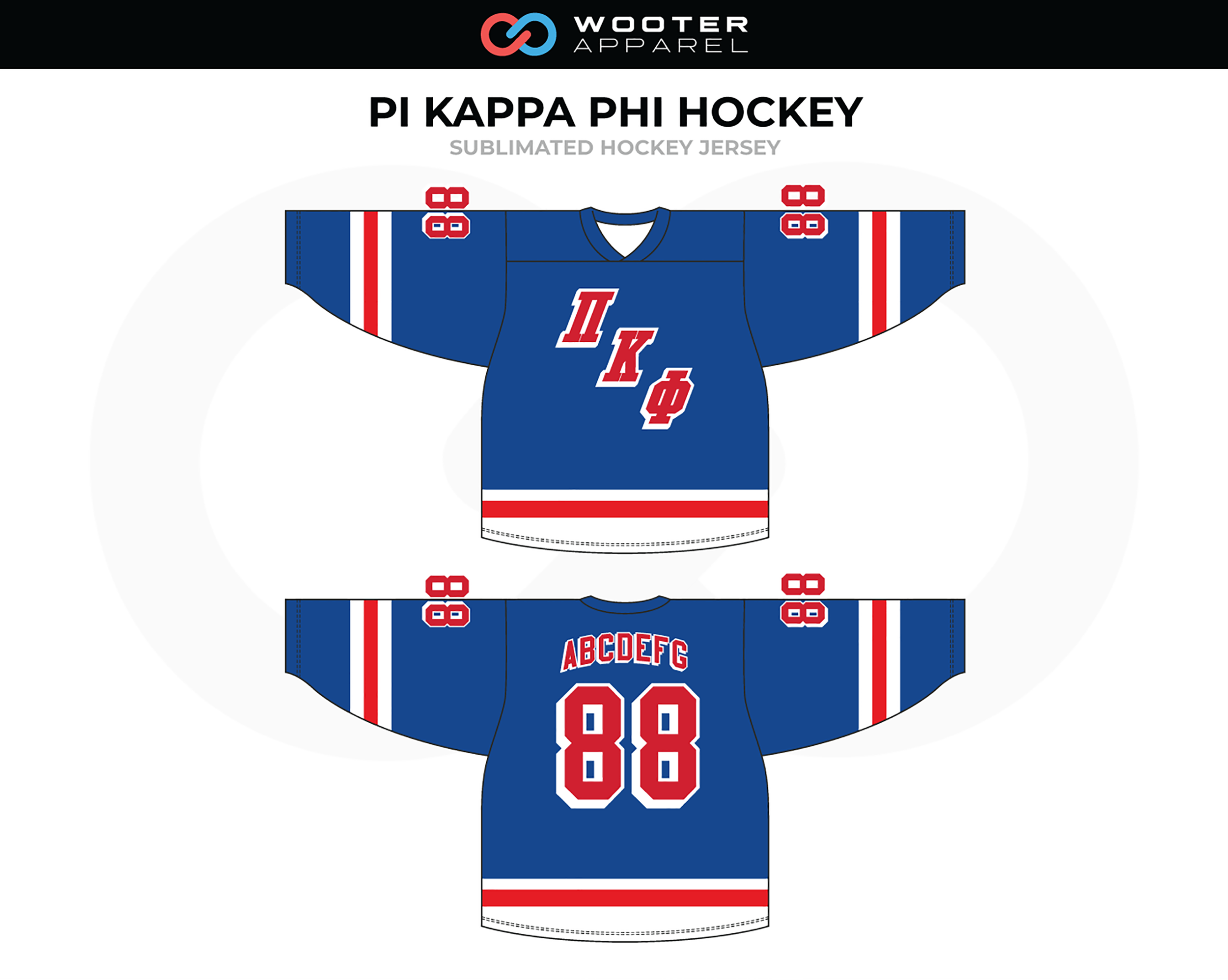 PI KAPPA PHI Blue Red White Hockey Jersey