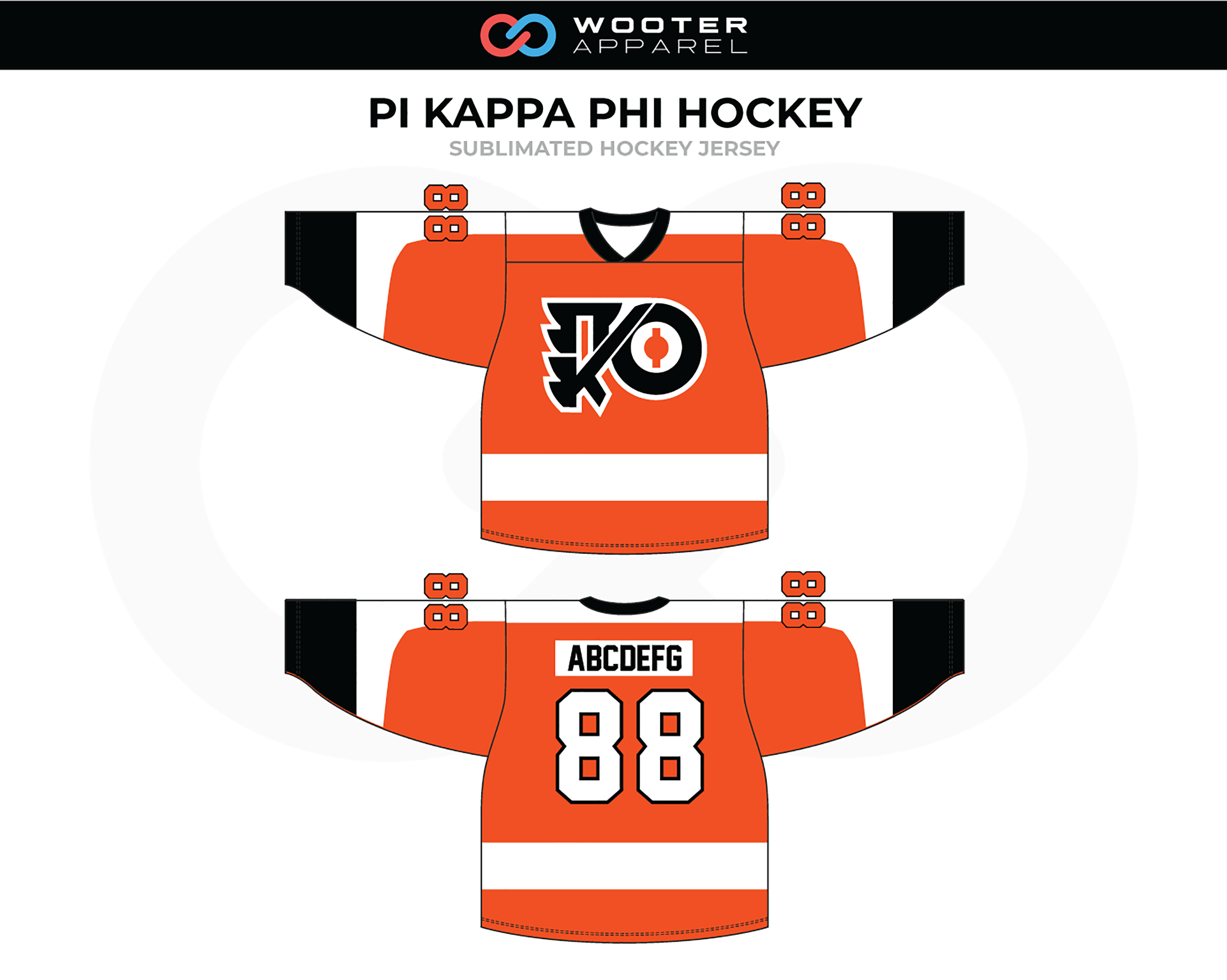 PI KAPPA PHI Orange White Black Hockey Jersey