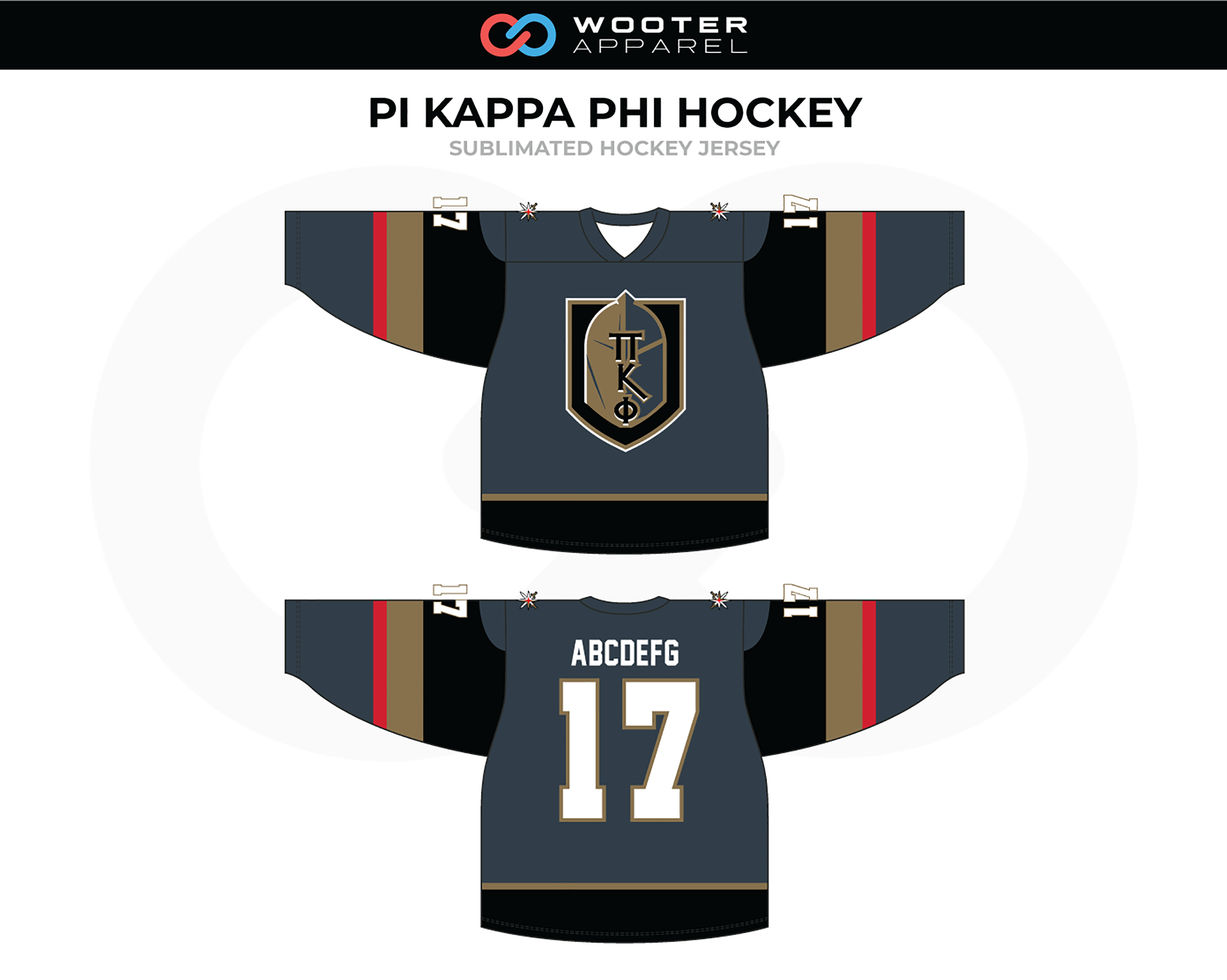 PI KAPPA PHI Gray Black Beige Red Hockey Jersey