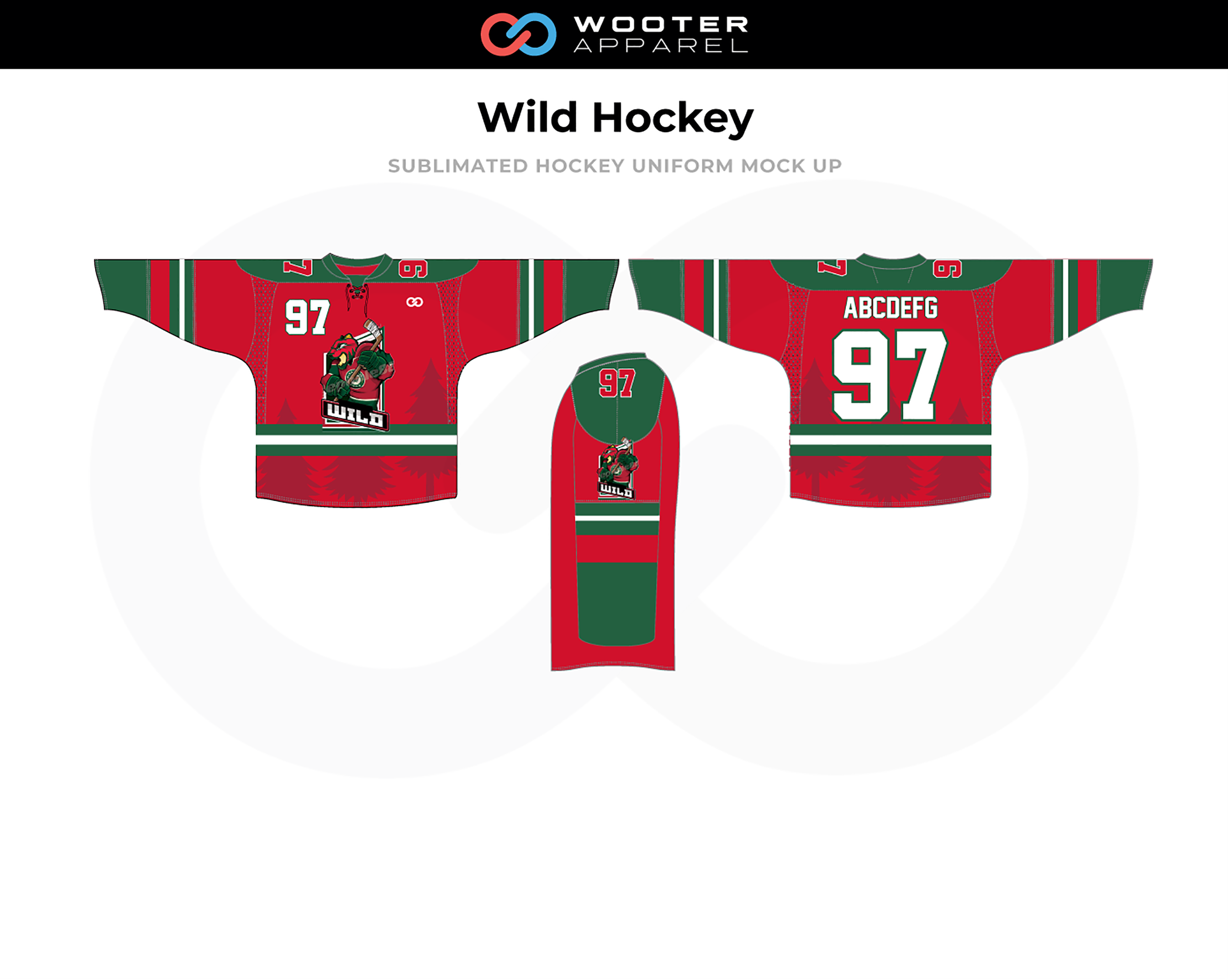WILD Red Green White Hockey Uniform Jersey