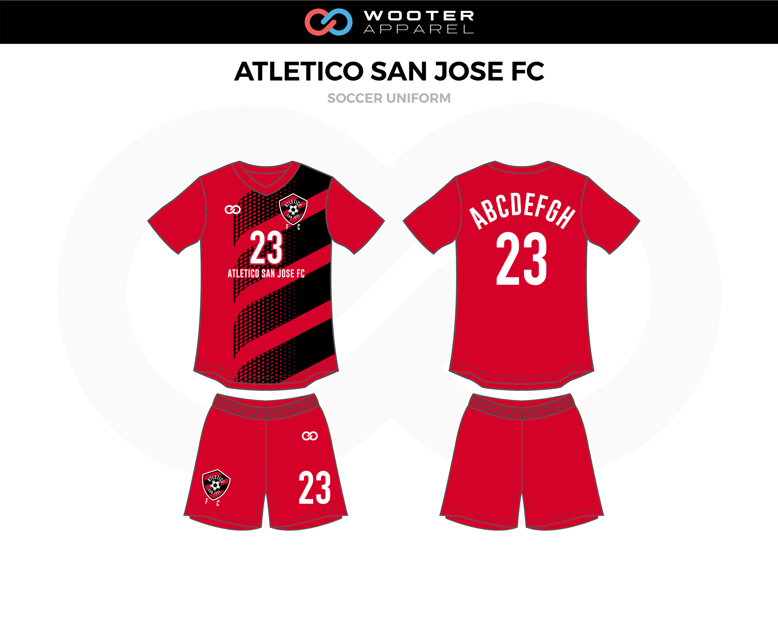ATLETICO SAN JOSE FC Red Black White Soccer Uniform, Jerseys, and Shorts
