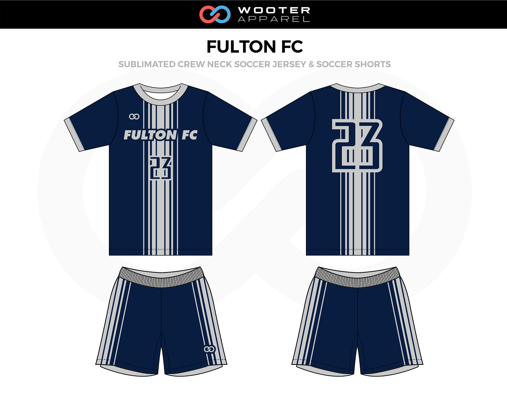 FULTON FC Navy Blue White Crew Neck Soccer Uniform, Jerseys, and Shorts