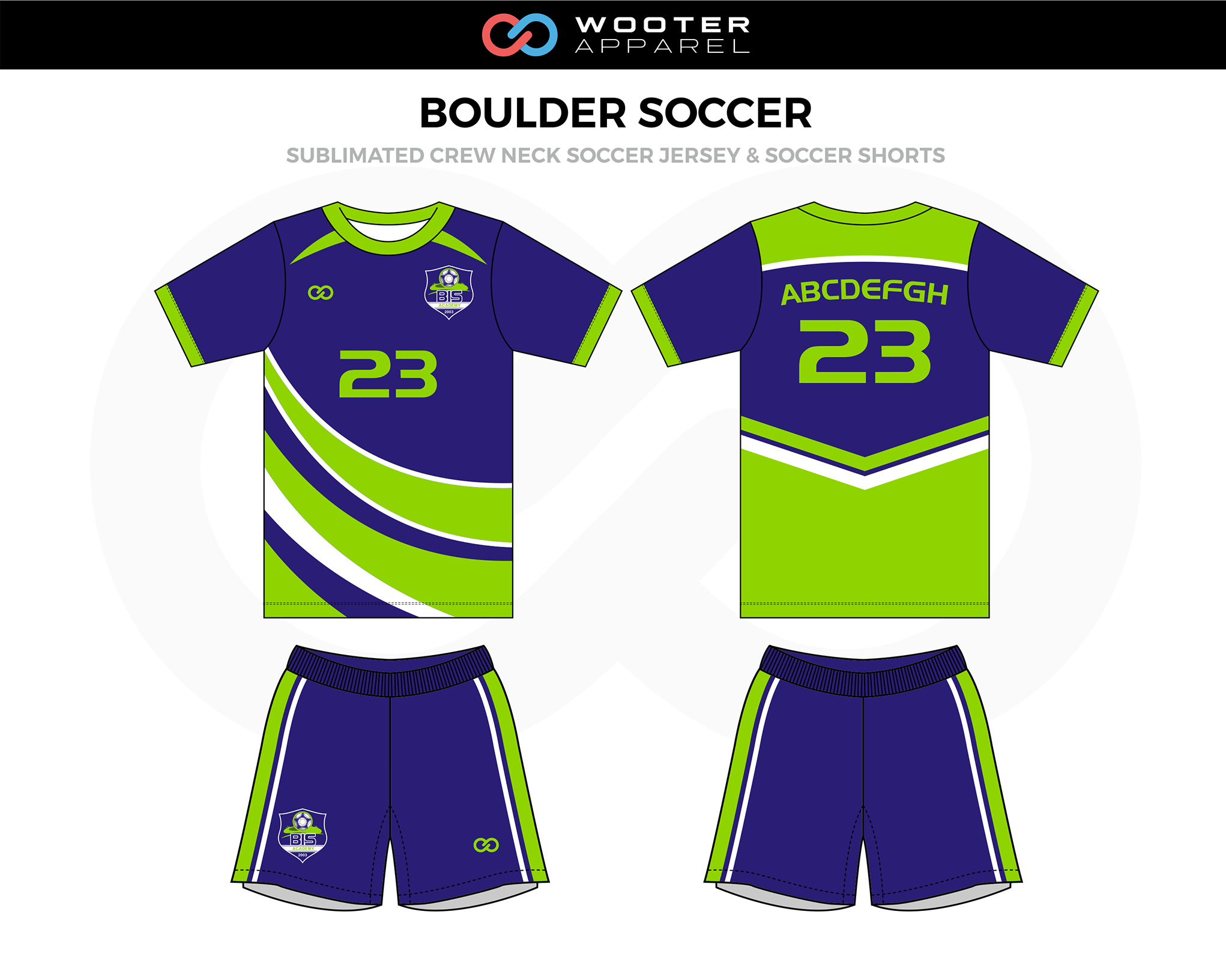 BOULDER Green Blue White Crew Neck Soccer Uniform, Jerseys, and Shorts
