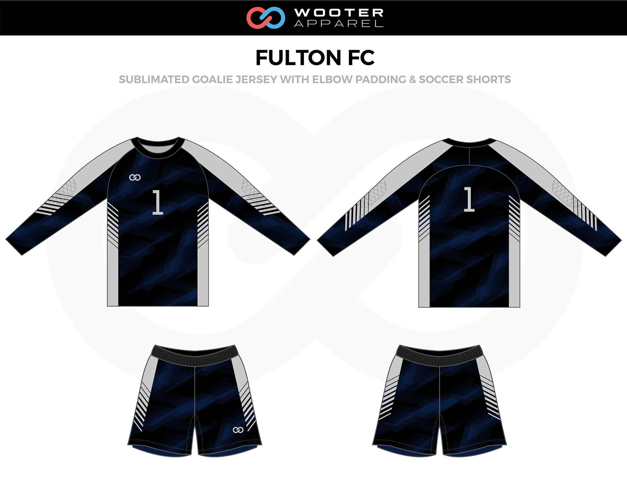 FULTON FC Gray Black Soccer Uniform, Goalie Jerseys with Elbow Padding, and Shorts